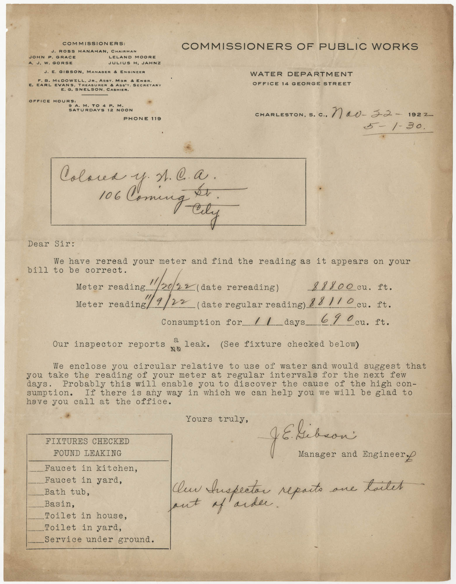 Letter from J. E. Gibson to Coming Street Y.W.C.A., November 22, 1927
