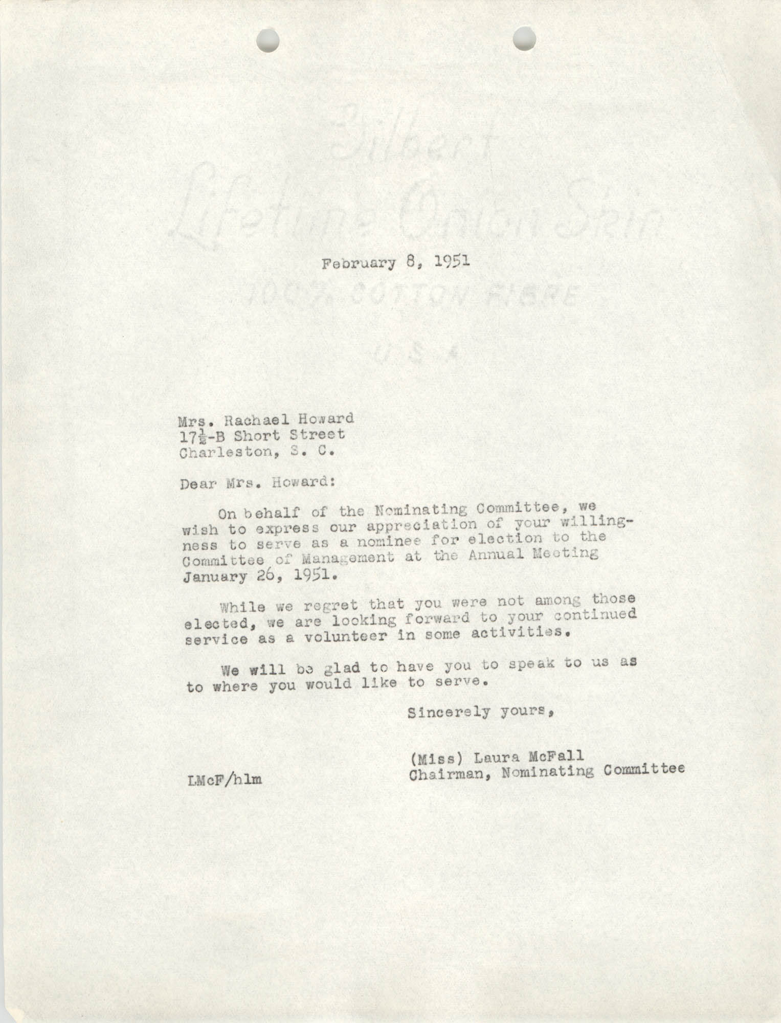 Letter from Laura McFall to Rachael Howard, February 8, 1951
