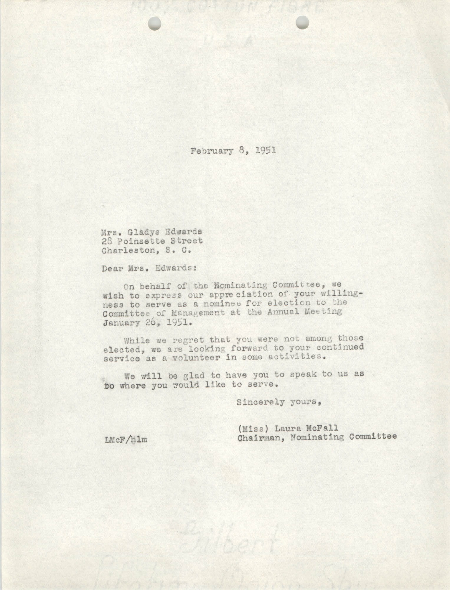 Letter from Laura McFall to Gladys Edwards, February 8, 1951