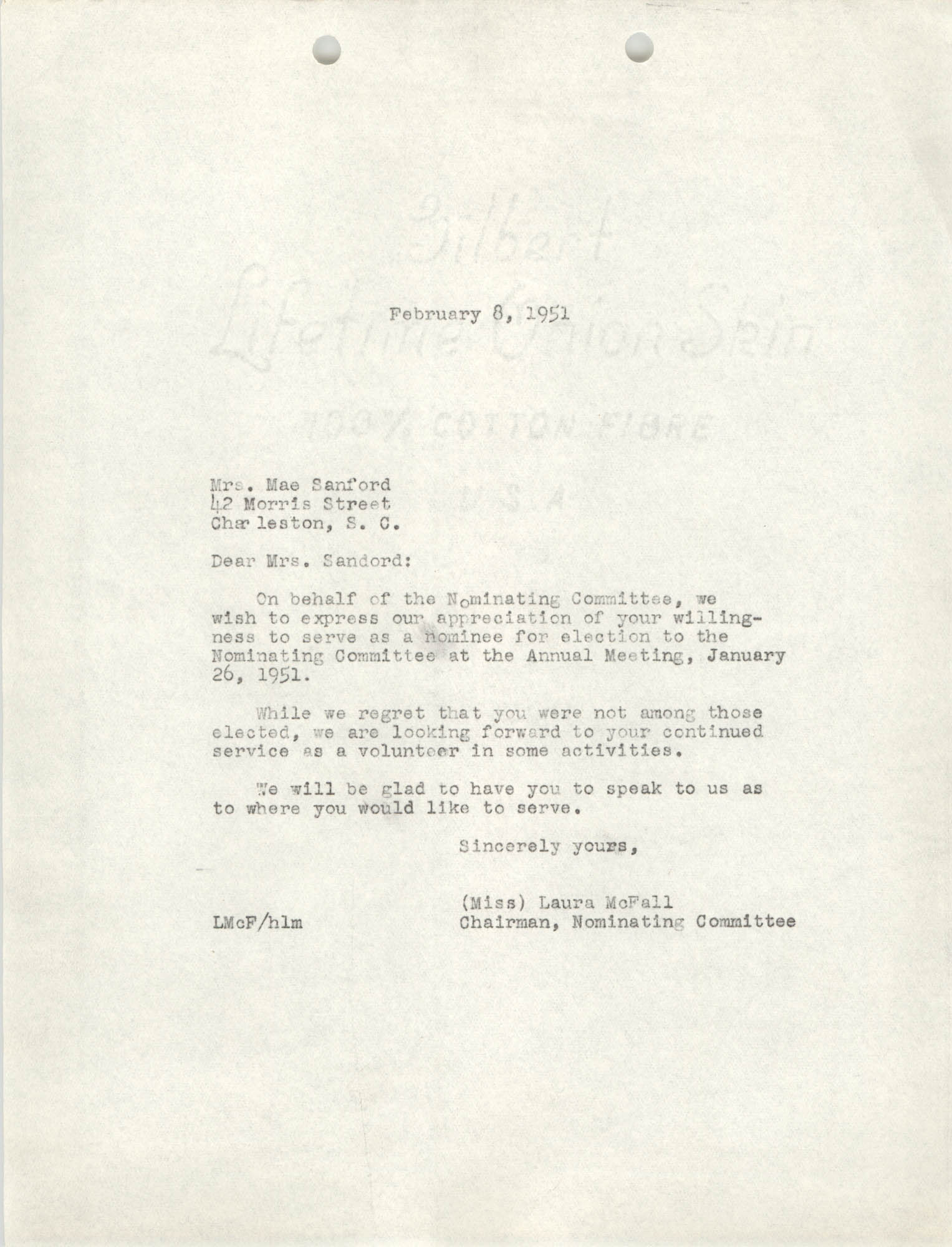 Letter from Laura McFall to Mae Sanford, February 8, 1951
