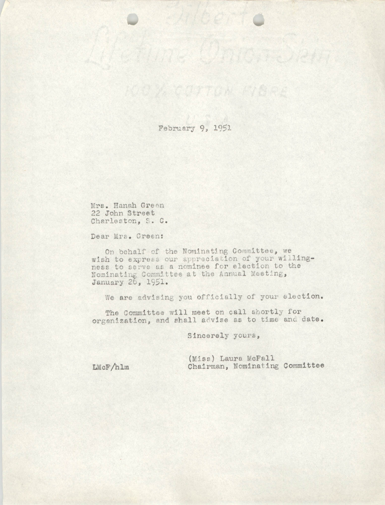 Letter from Laura McFall to Hanah Green, February 9, 1951
