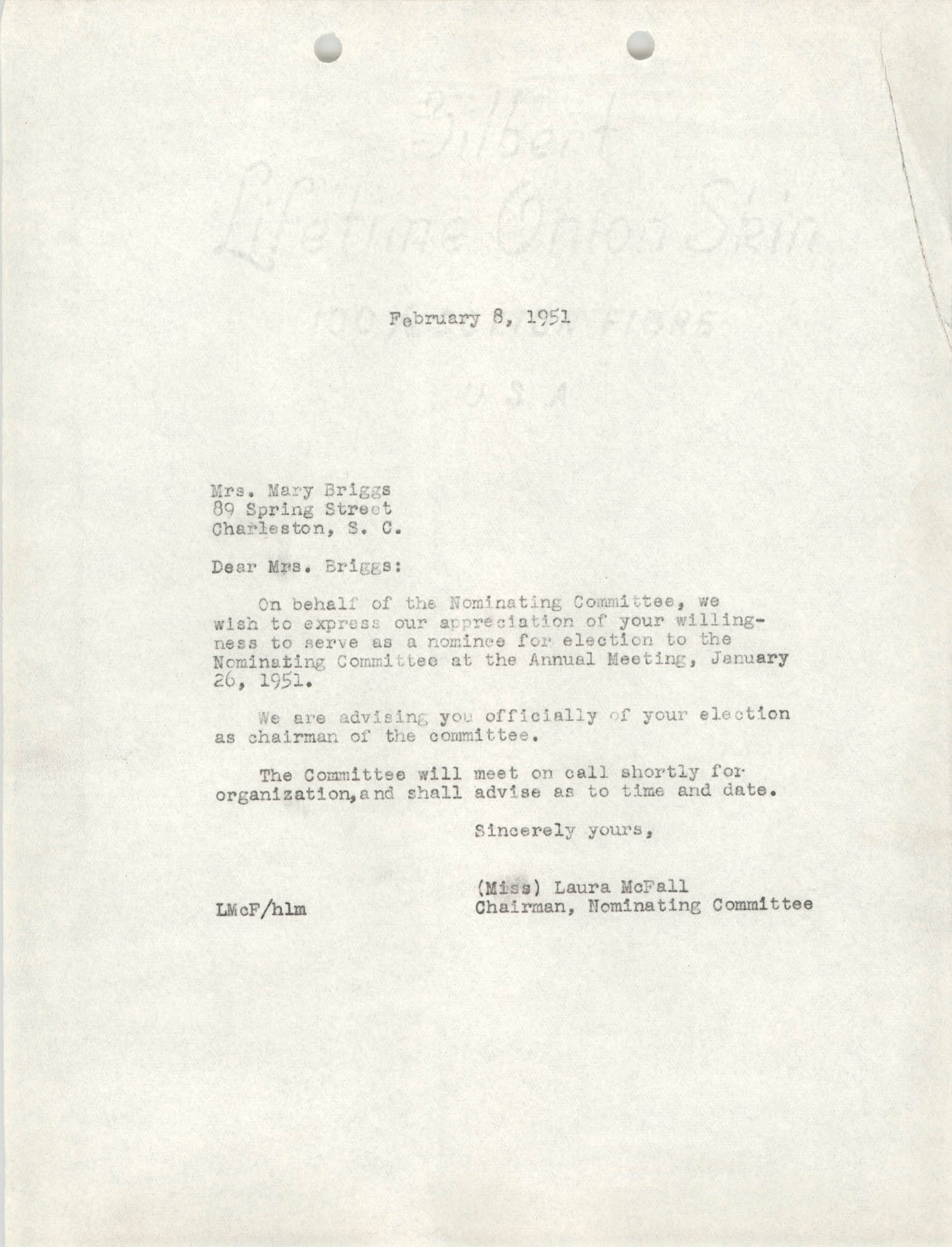 Letter from Laura McFall to Mary Briggs, February 8, 1951