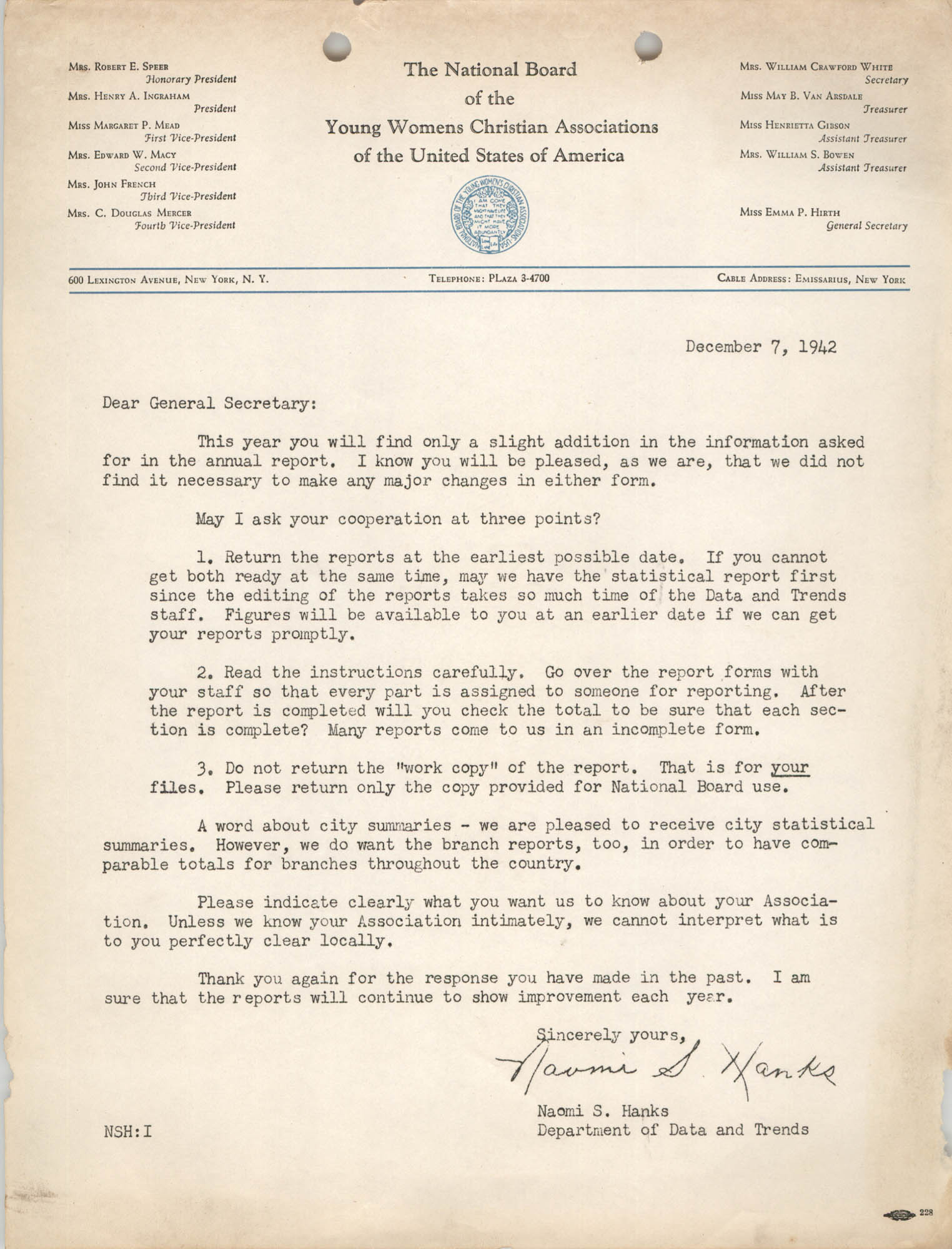 Letter from Naomi S. Hanks to General Secretary of the National Board of Y.W.C.A., December 7, 1942