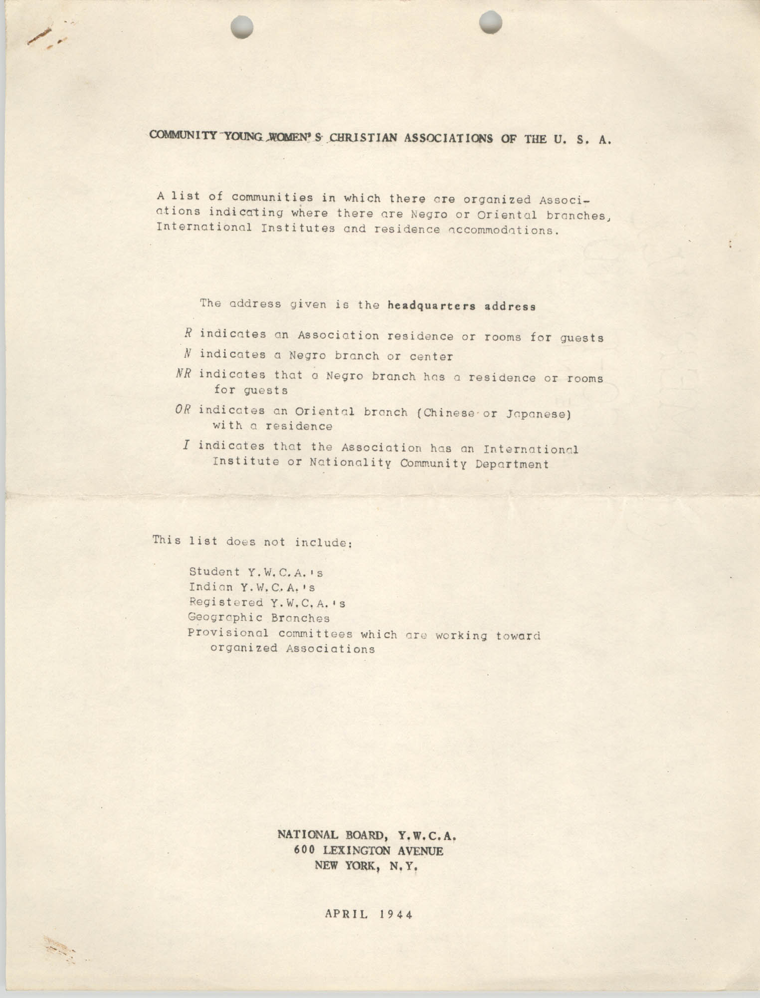 Community Young Women's Christian Associations of the U.S.A., Community Headquarters List, April 1944