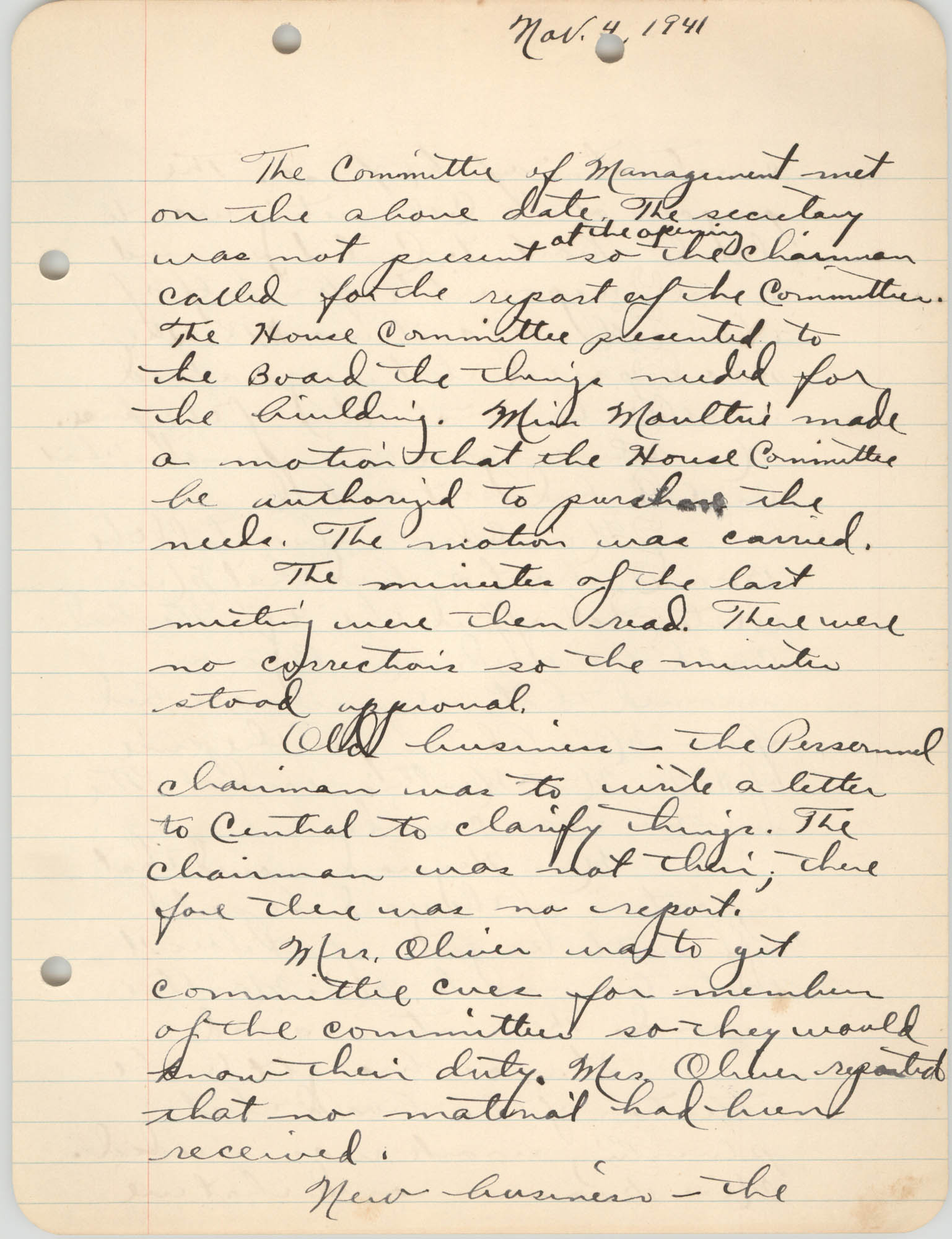 Minutes to the Committee of Management, Coming Street Y.W.C.A., November 4, 1941