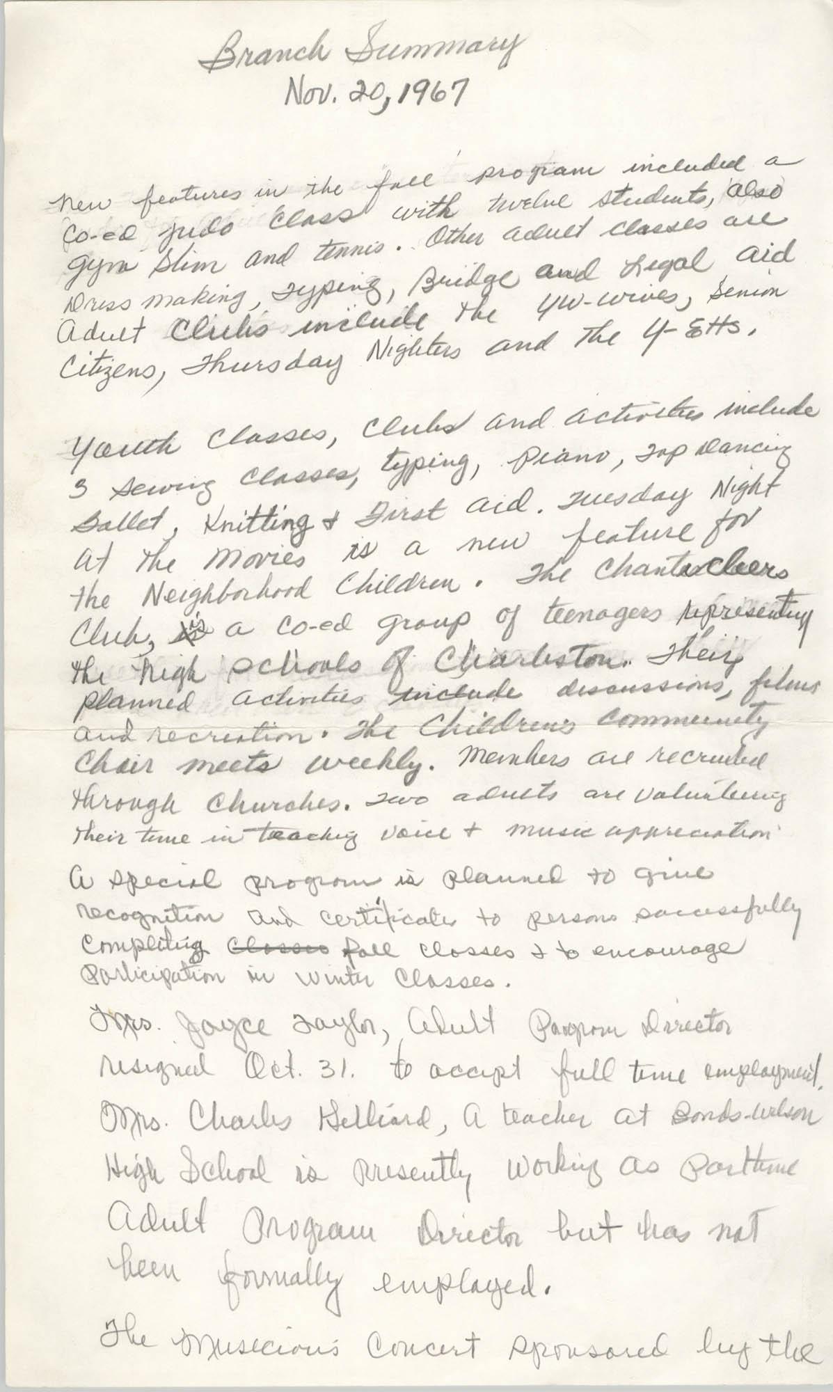 Coming Street Y.W.C.A. Branch Summary, November 20, 1967