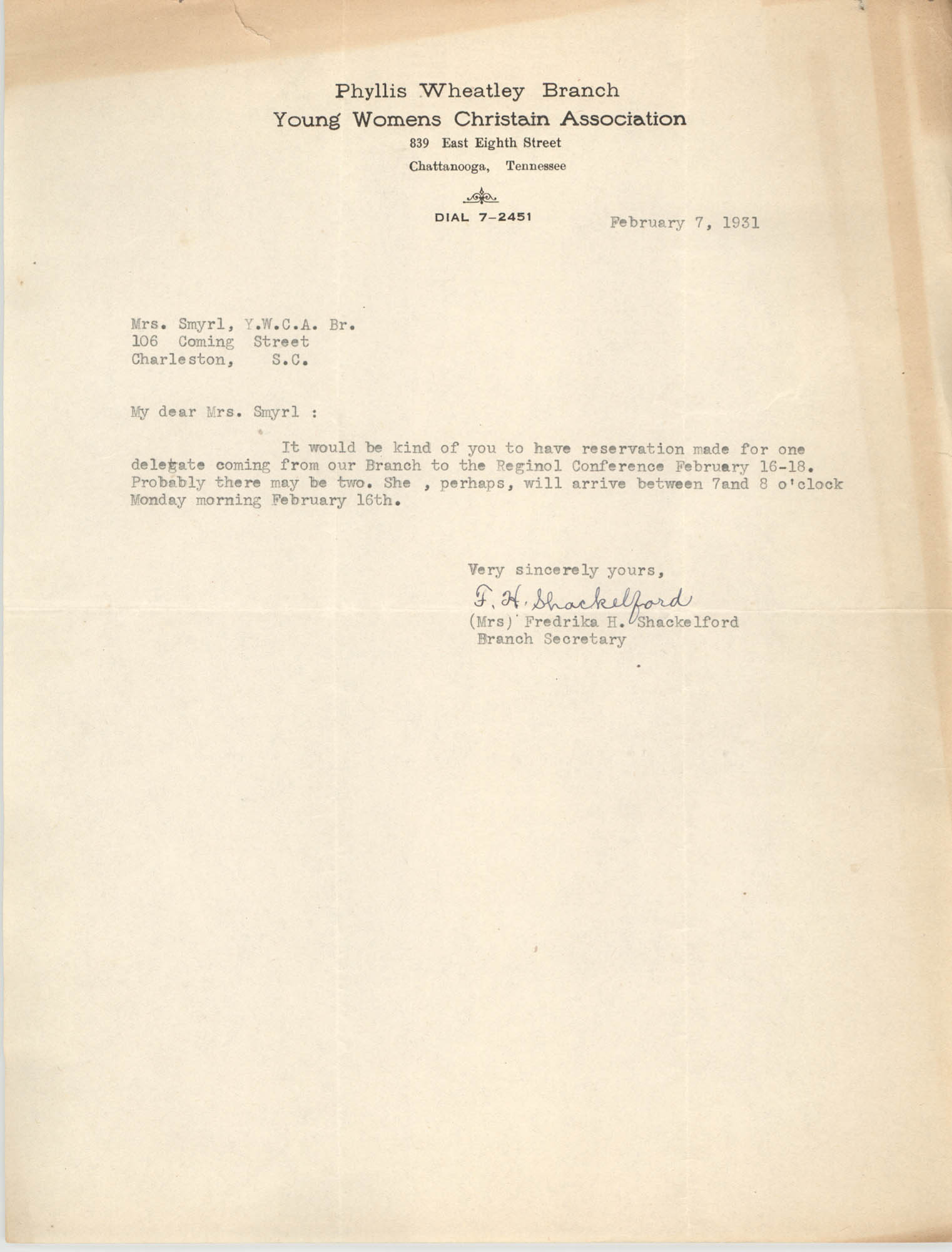 Letter from Fredrika H. Shackelford to Ella L. Smyrl, February 7, 1931