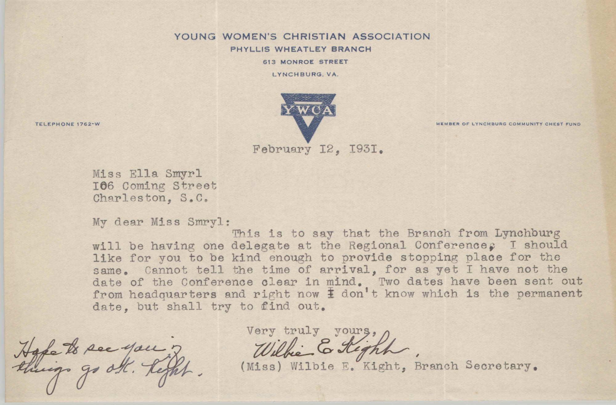 Letter from Wilbie E. Kight to Ella L. Smyrl, February 12, 1931