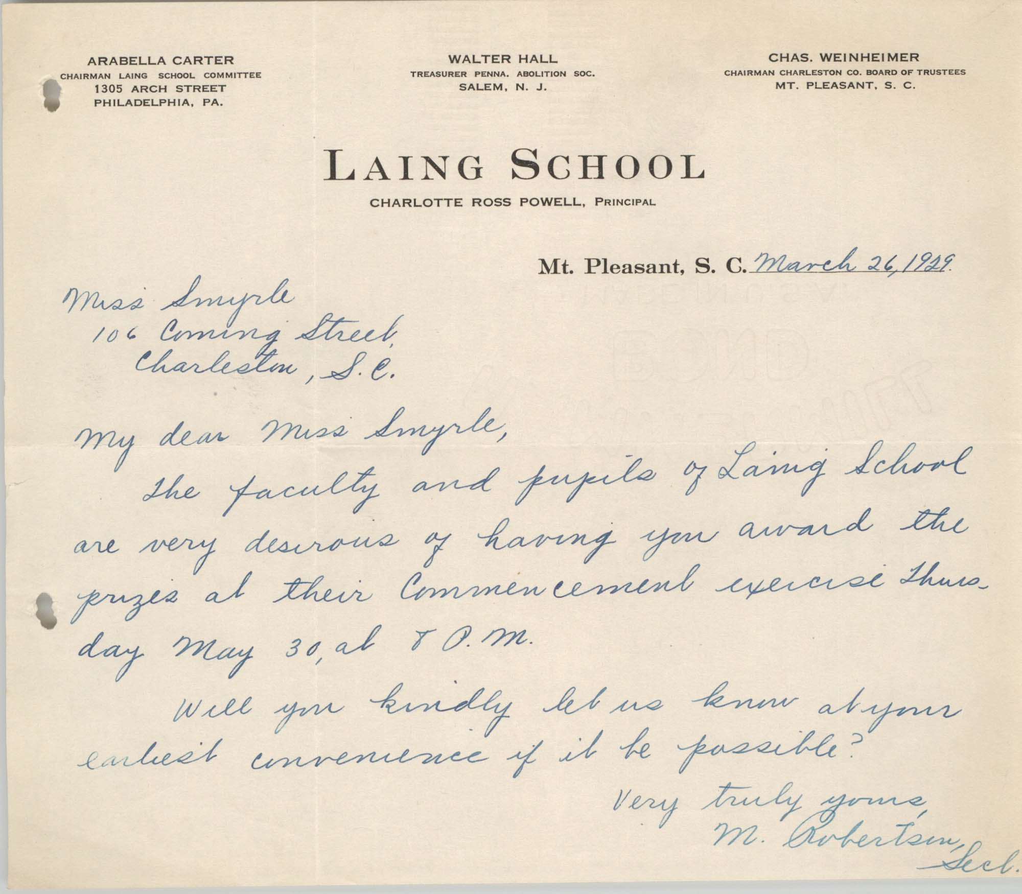Letter from M. Robertson to Ella L. Smyrl, March 26, 1929