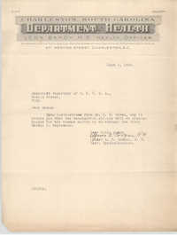 Letter from A. E. Coogan to Executive Secretary for the