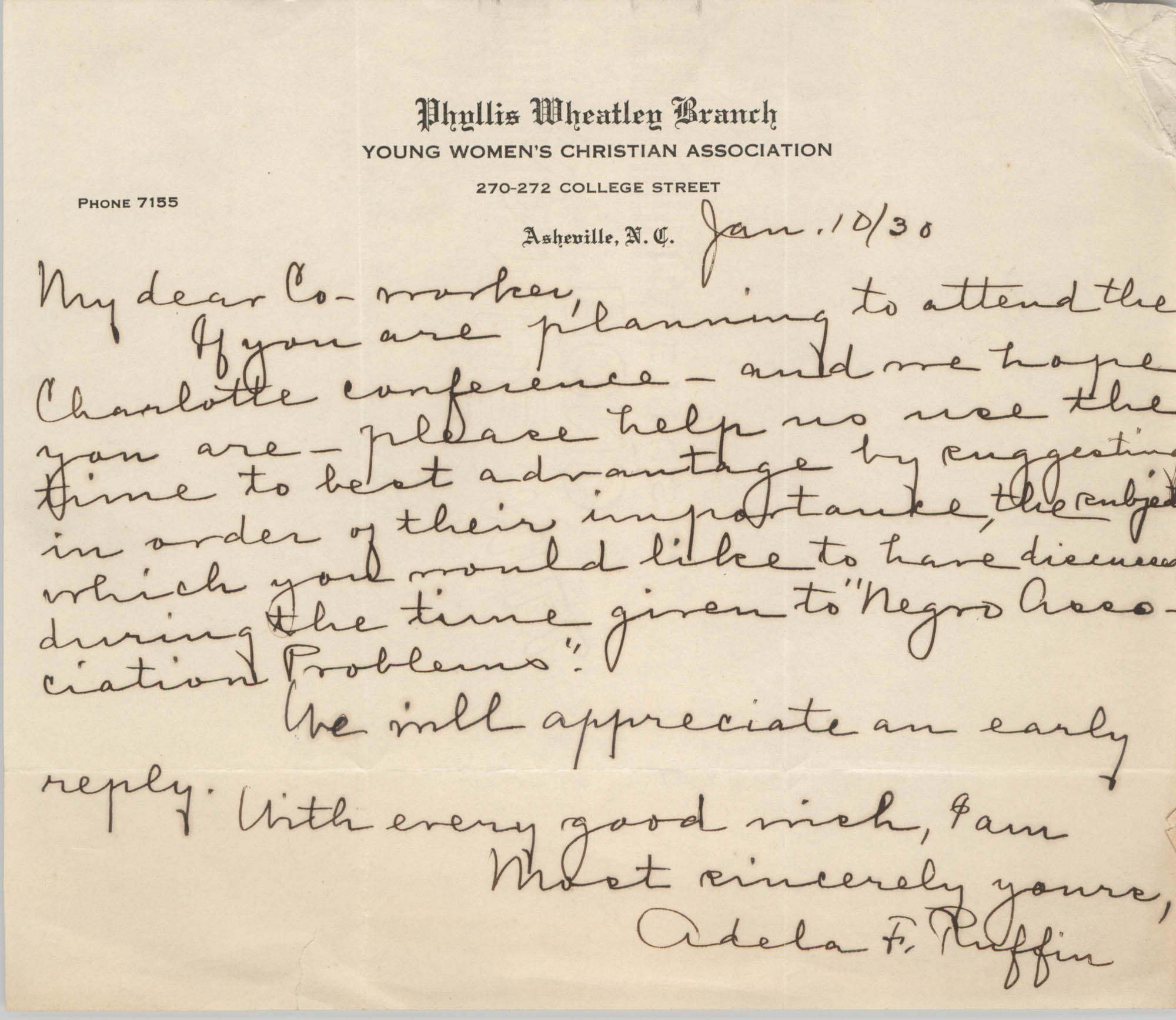 Letter from Adela F. Ruffin to Phyllis Wheatley Branch of the Y.W.C.A. Co-Worker, January 10, 1930