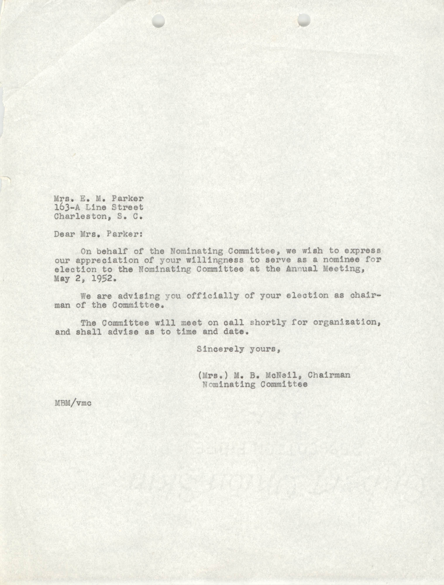 Letter from M. B. McNeil to E. M. Parker, May 7, 1952