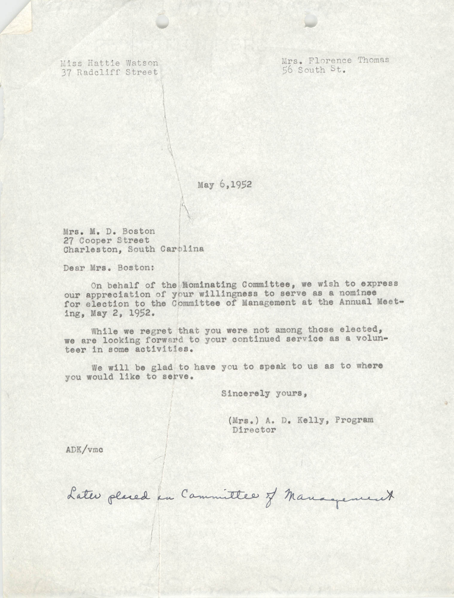 Letter from M. B. McNeil to M. D. Boston, May 6, 1952