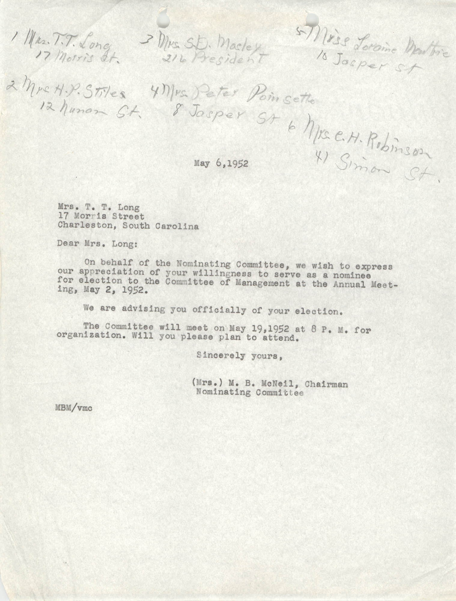 Letter from M. B. McNeil to T. T. Long, May 6, 1952