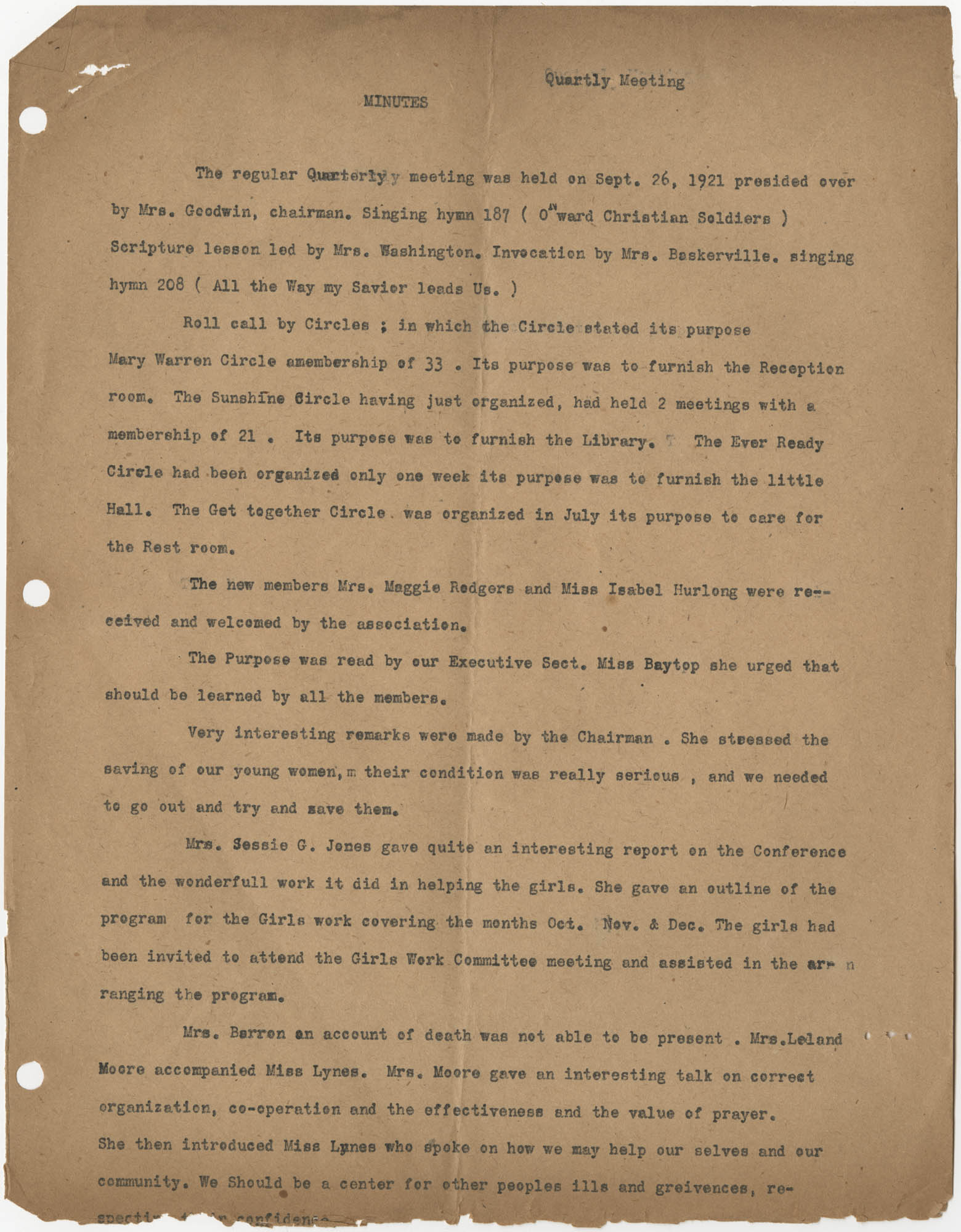 Minutes, Coming Street Y.W.C.A., September 26, 1921