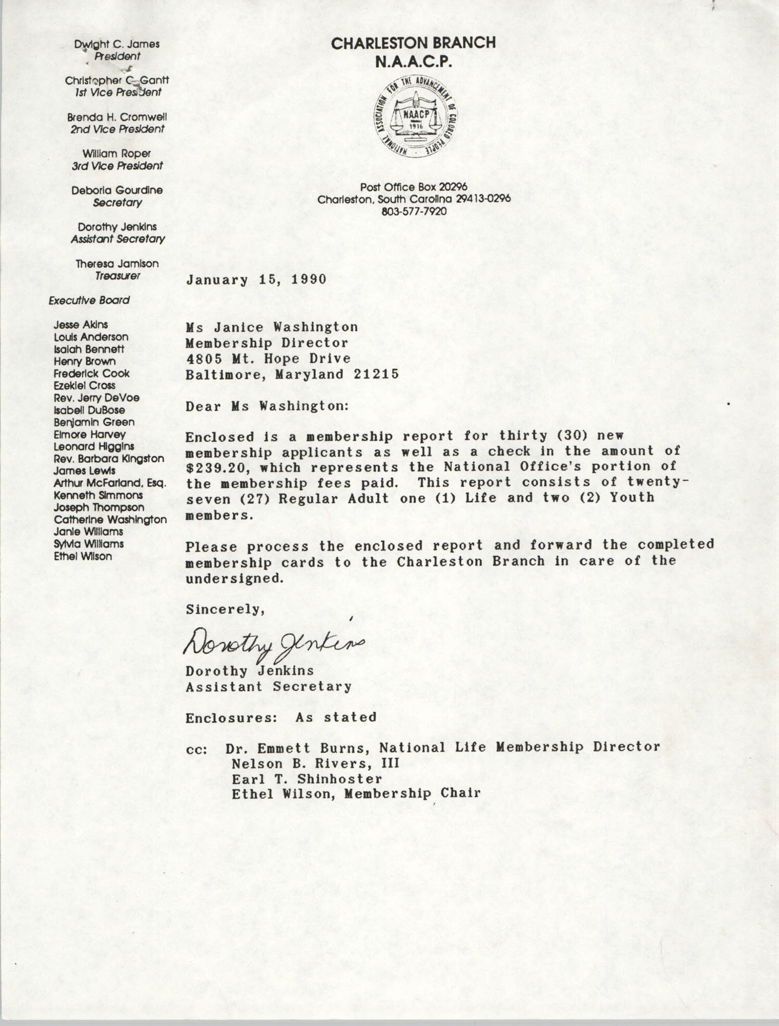 Letter from Dorothy Jenkins to Janice Washington, NAACP, January 1, 1990