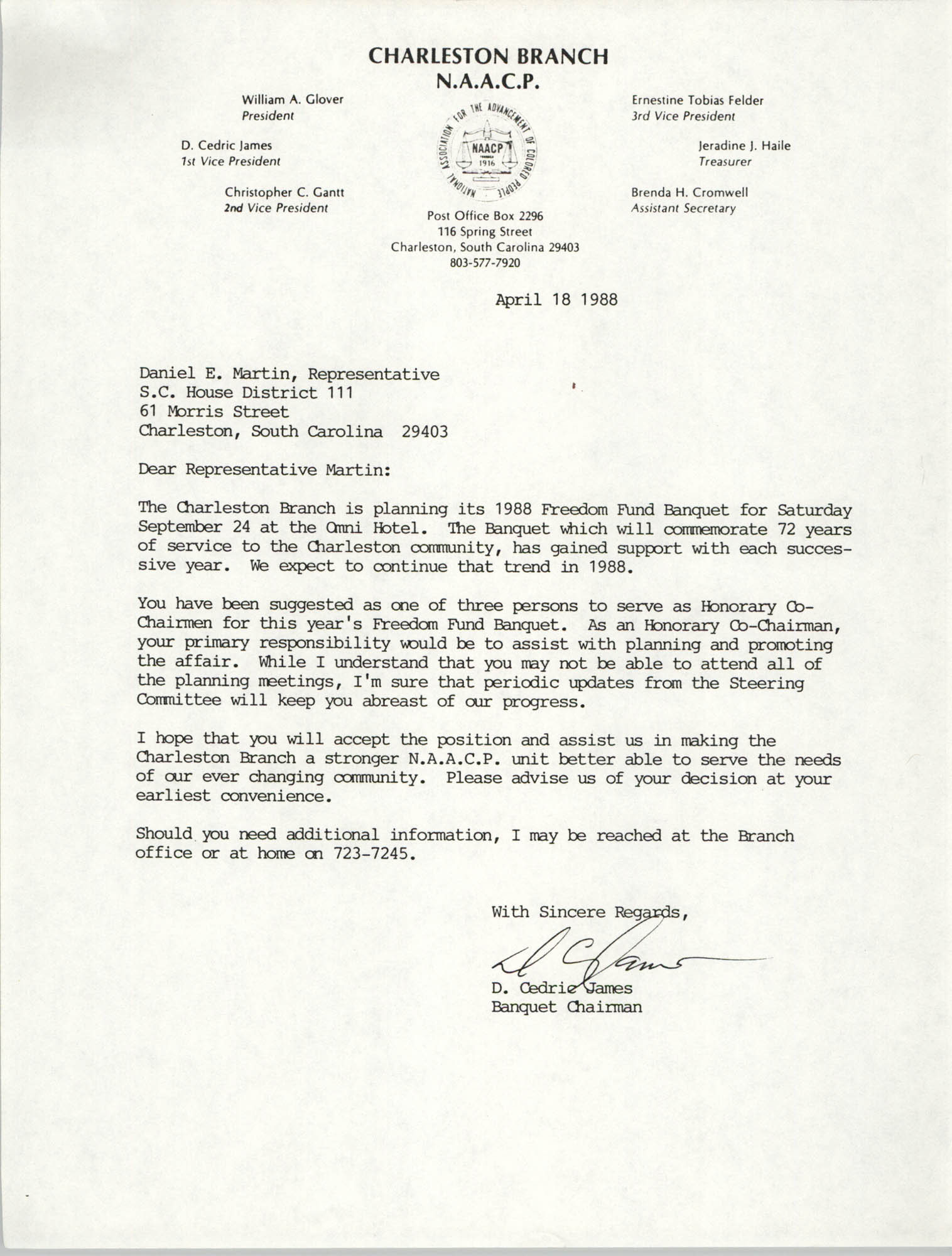 Letter from D. Cedric James to Daniel E. Martin, April 18, 1988