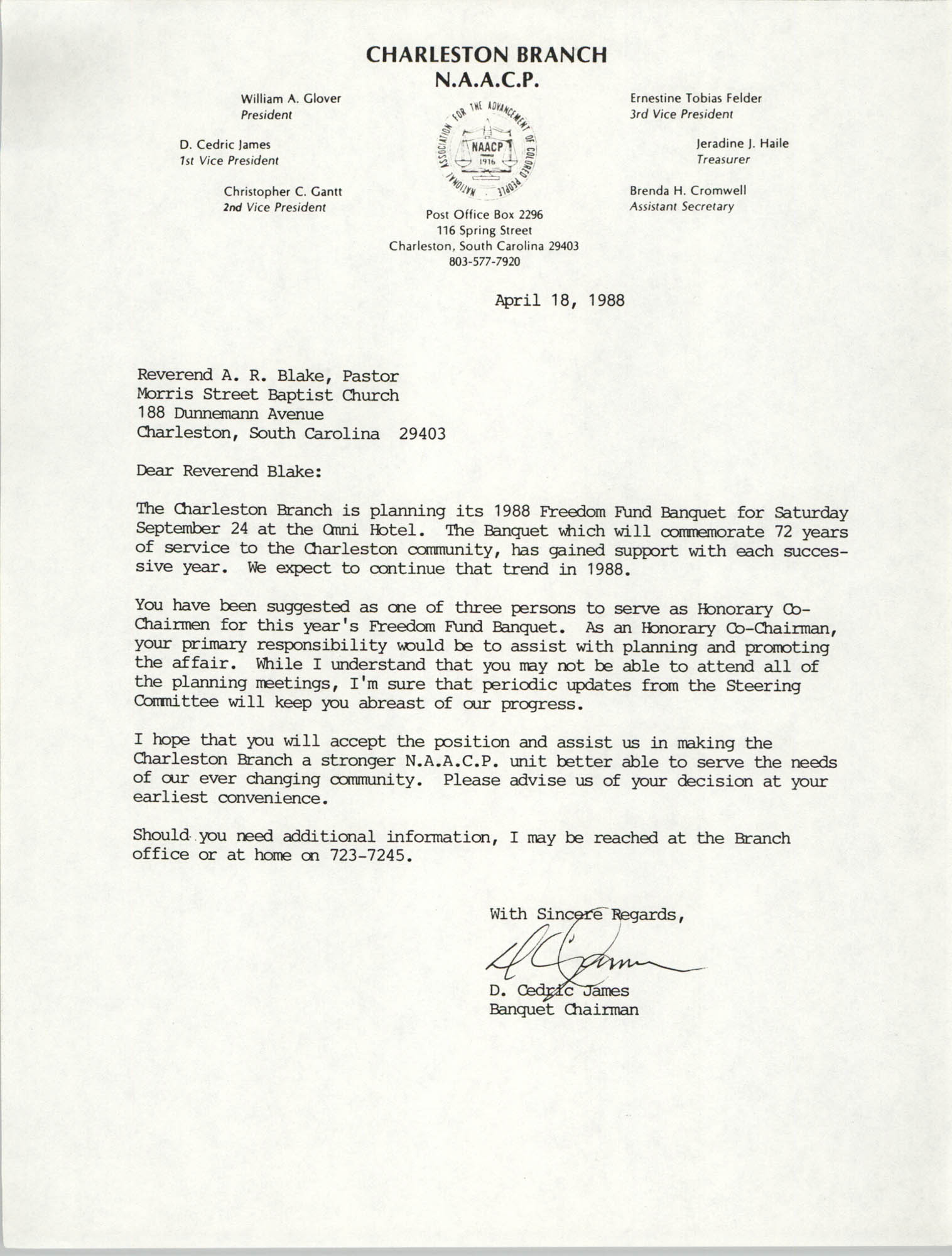 Letter from D. Cedric James to Reverend A.R. Blake, April 18, 1988