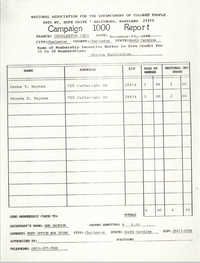 Campaign 1000 Report, Serena Washington, Charleston Branch of the NAACP, November 13, 1988