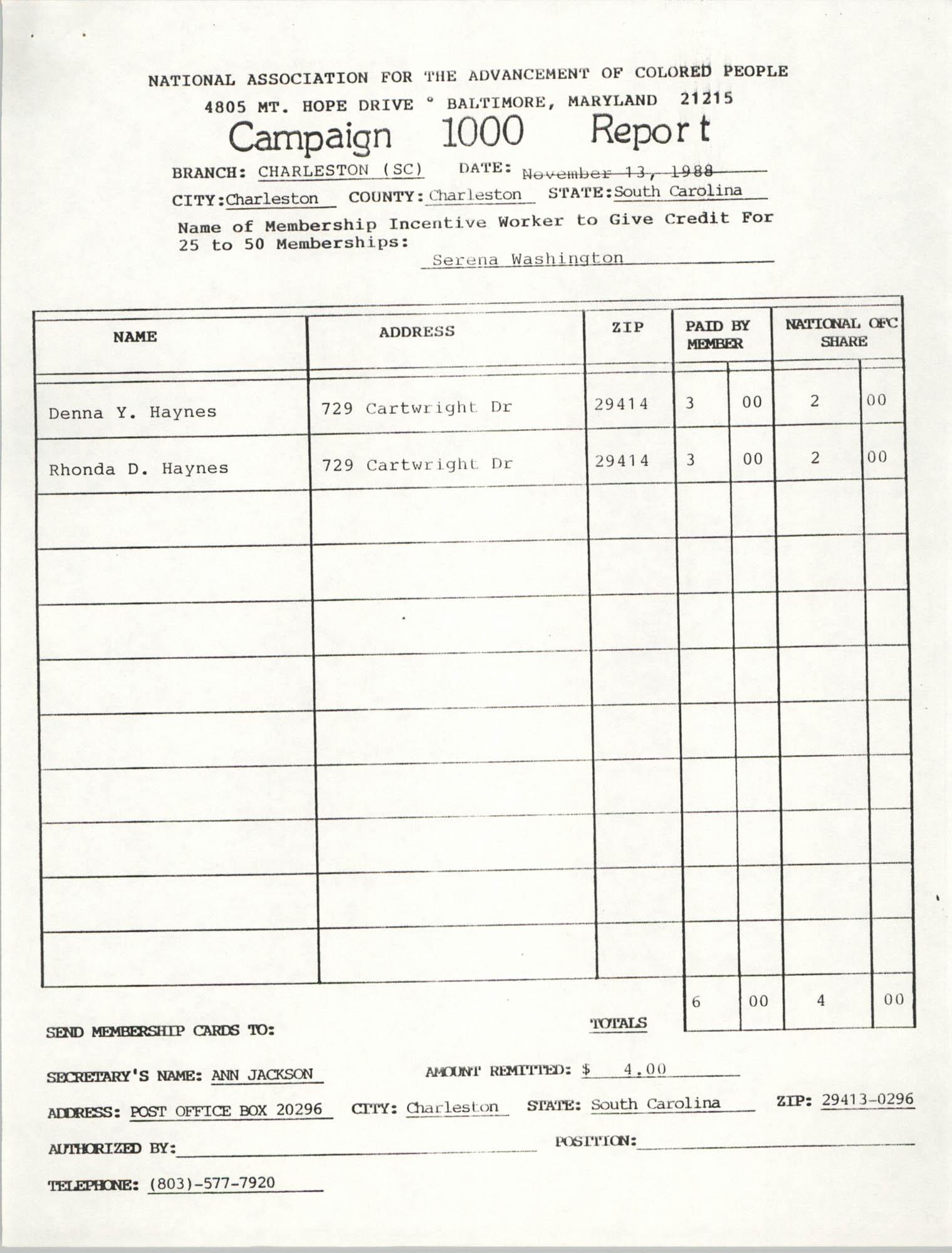 Campaign 1000 Report, Serena Washington, Charleston Branch of the NAACP, November 13, 1988