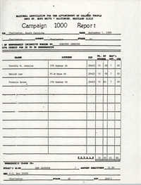 Campaign 1000 Report, Dorothy Jenkins, Charleston Branch of the NAACP, September 1, 1988