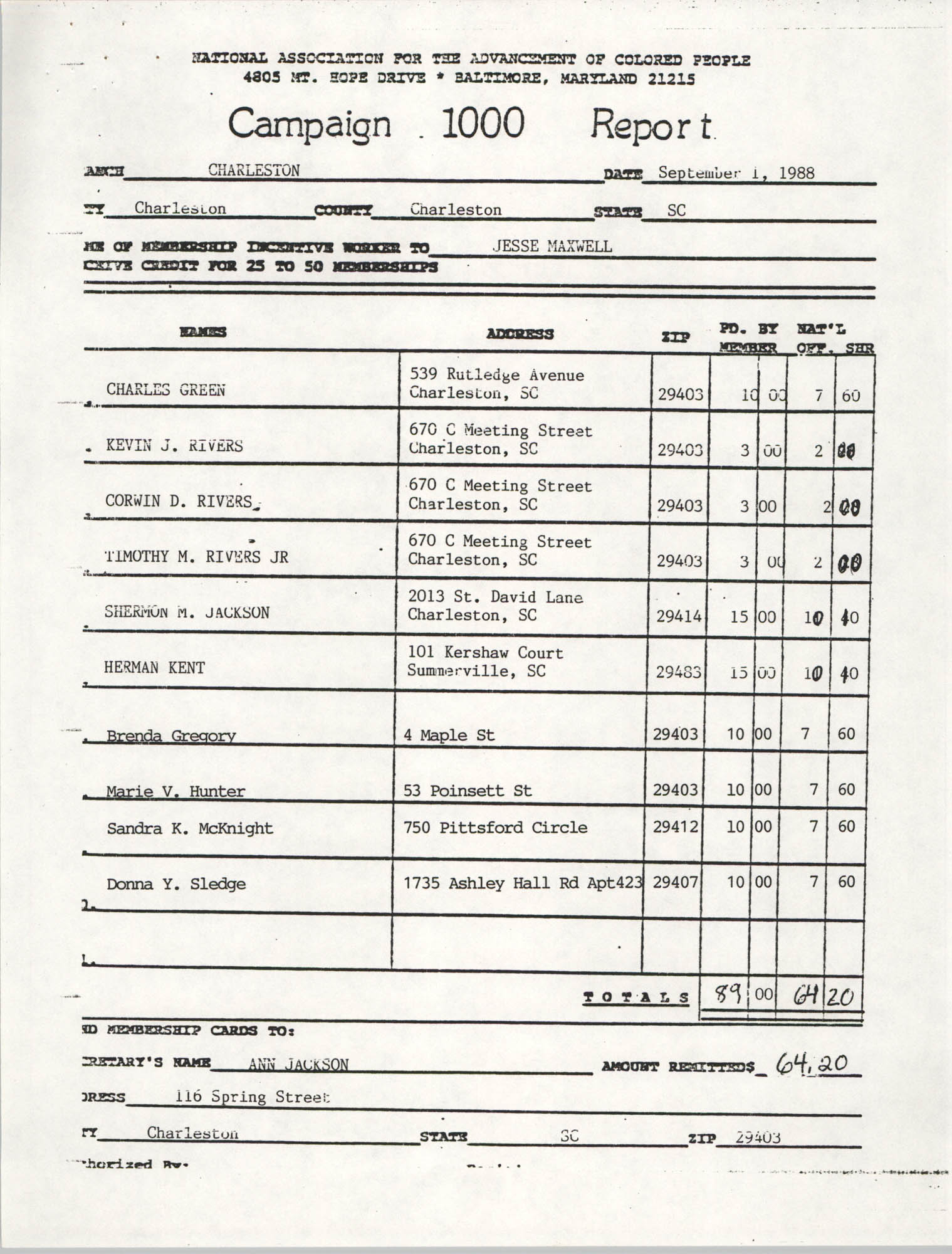 Campaign 1000 Report, Jesse Maxwell, Charleston Branch of the NAACP, September 1, 1988