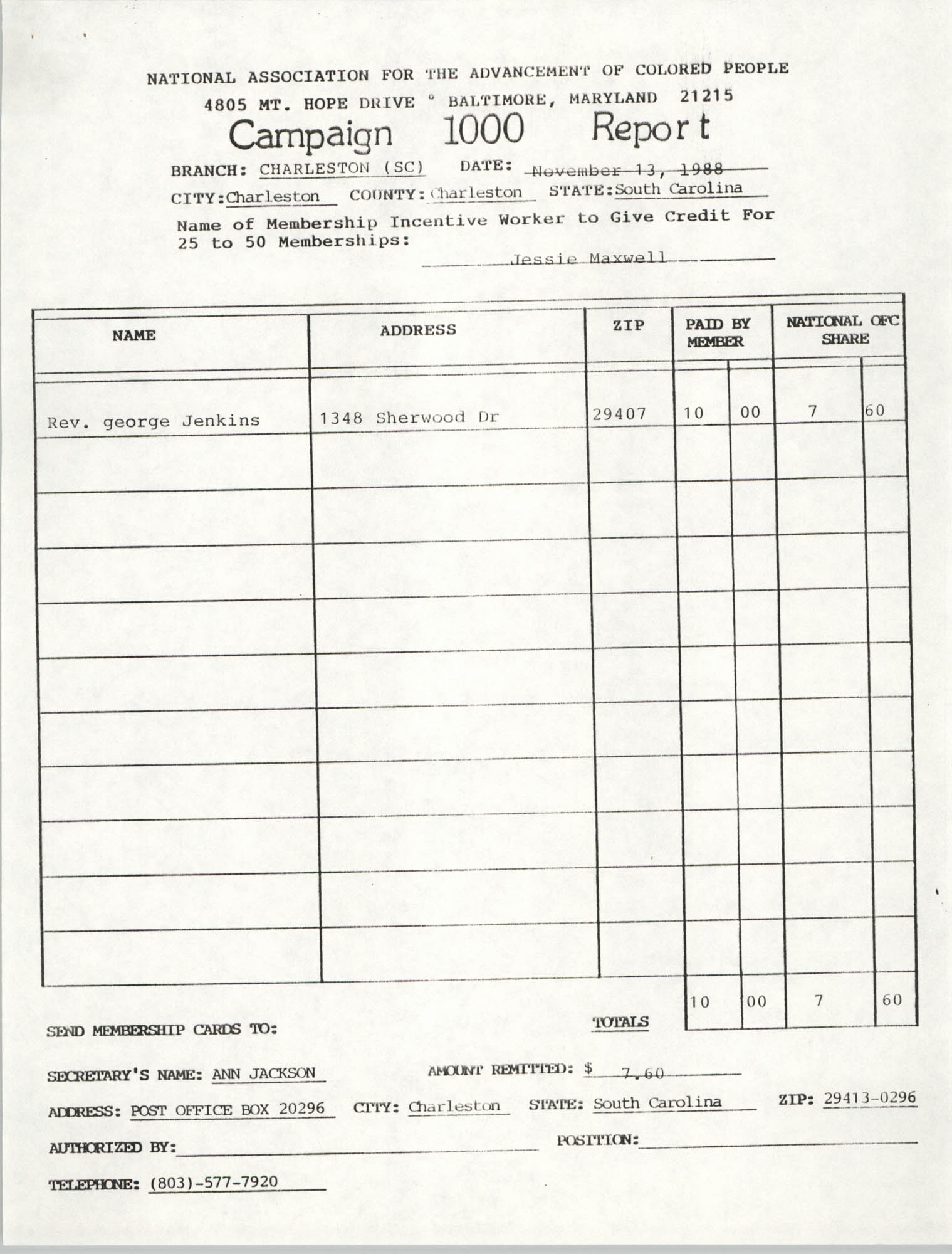 Campaign 1000 Report, Jessie Maxwell, Charleston Branch of the NAACP, November 13, 1988