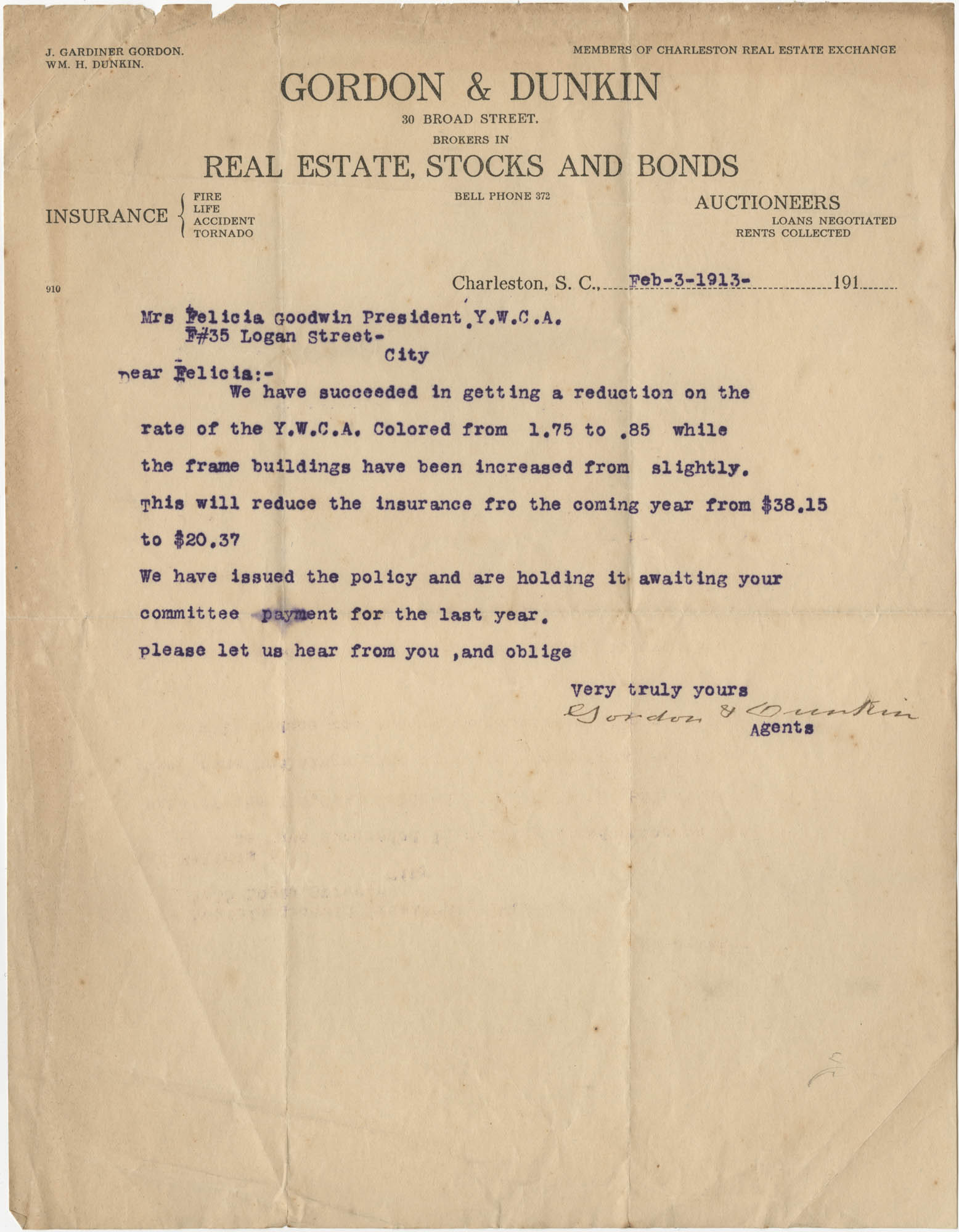 Letter from J. Gardiner Gordon and William H. Dunkin to Felicia Goodwin, February 3, 1913