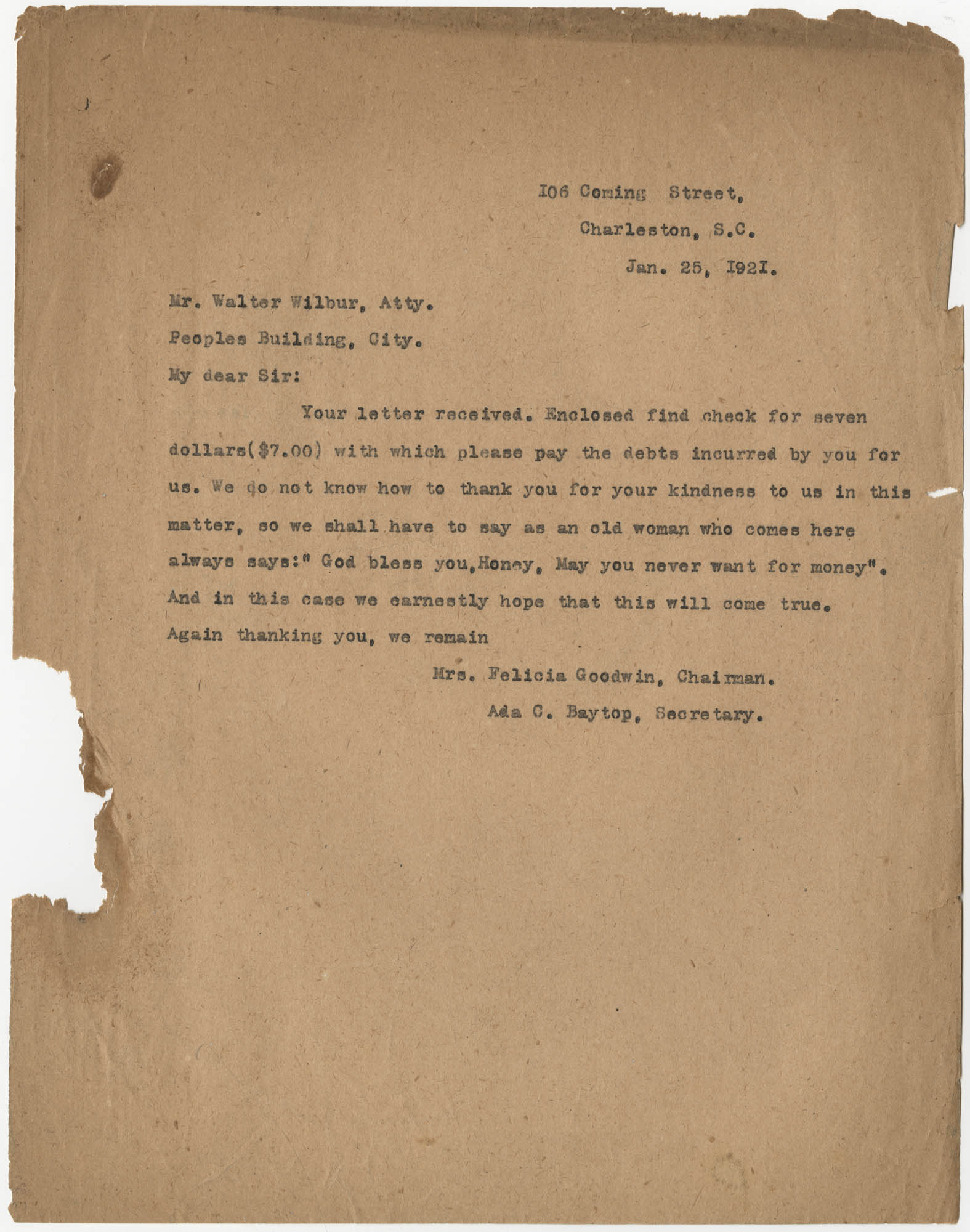 Letter from Felicia Goodwin and Ada C. Baytop to Walter Wilbur, January 25, 1921