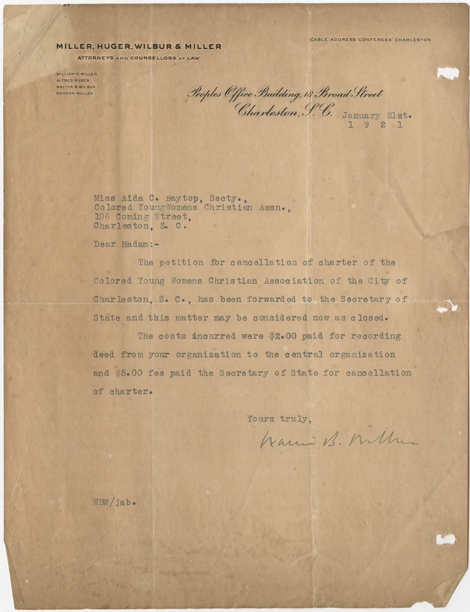 Letter from Walter B. Wilbur to Ada C. Baytop, January 21, 1921