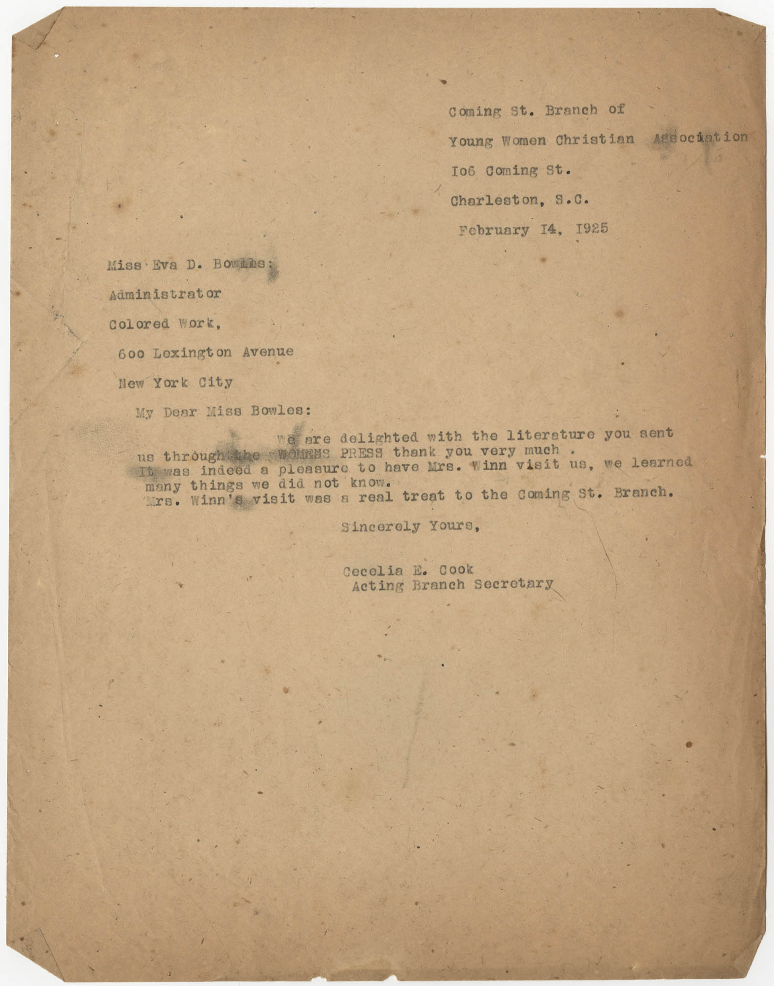 Letter from Cecelia E. Cook to Eva D. Bowles, February 14, 1925