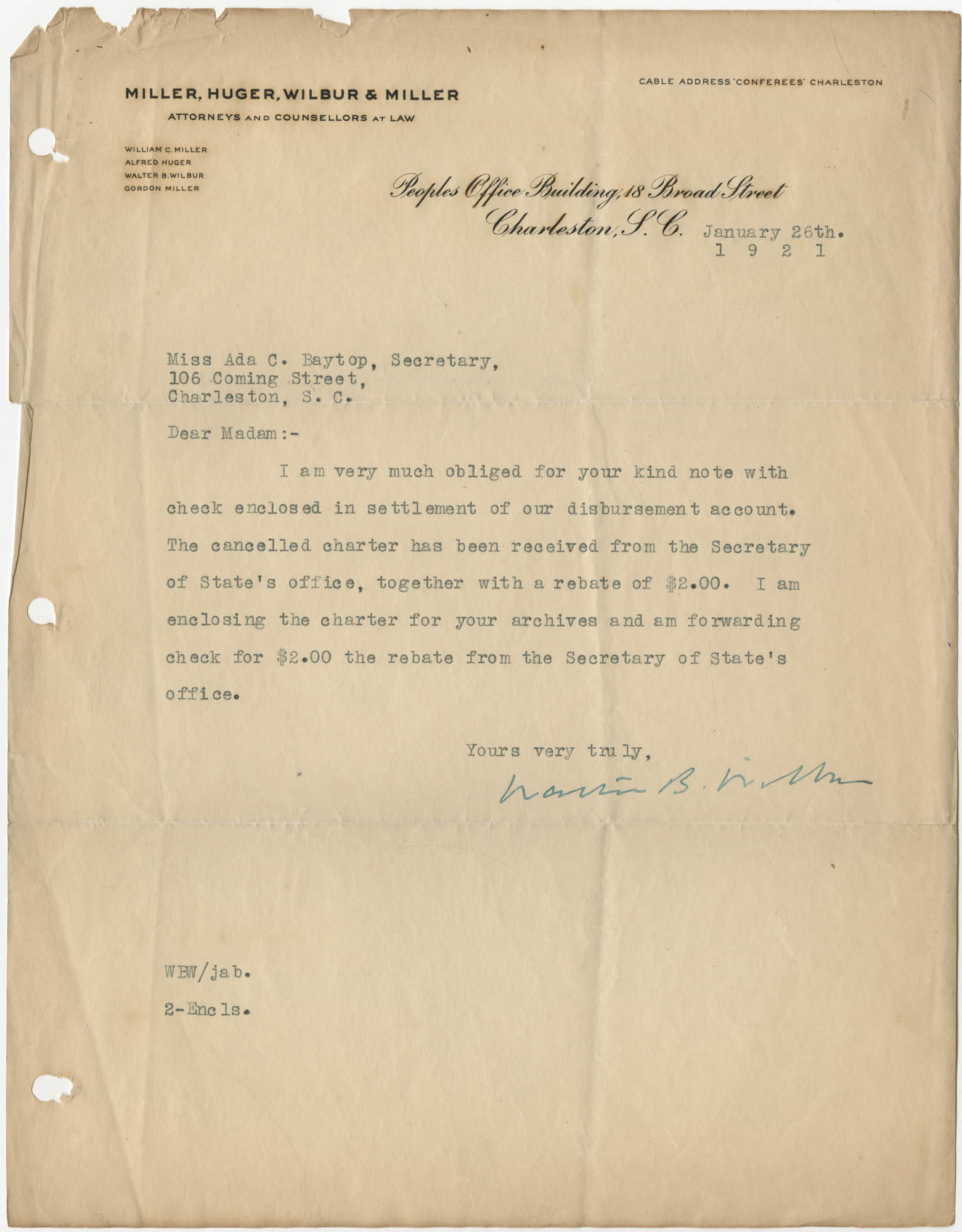 Letter from Walter B. Wilbur to Ada C. Baytop, January 26, 1921