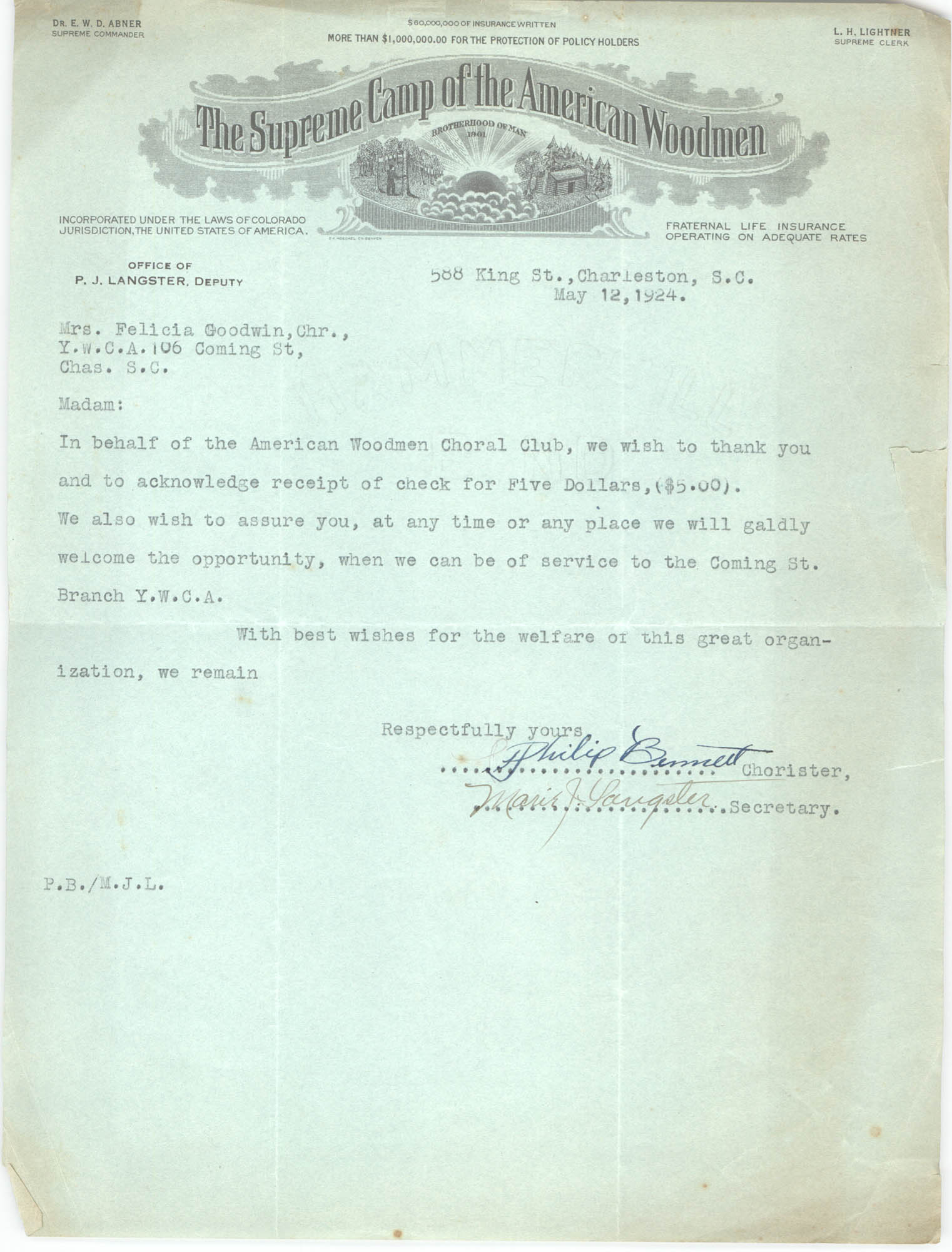 Letter from Philip Bennett to Felicia Goodwin, May 12, 1924