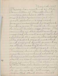 Minutes to the Board of Management, Coming Street Y.W.C.A., May 3, 1927