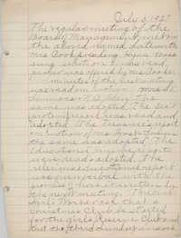 Minutes to the Board of Management, Coming Street Y.W.C.A., July 5, 1927