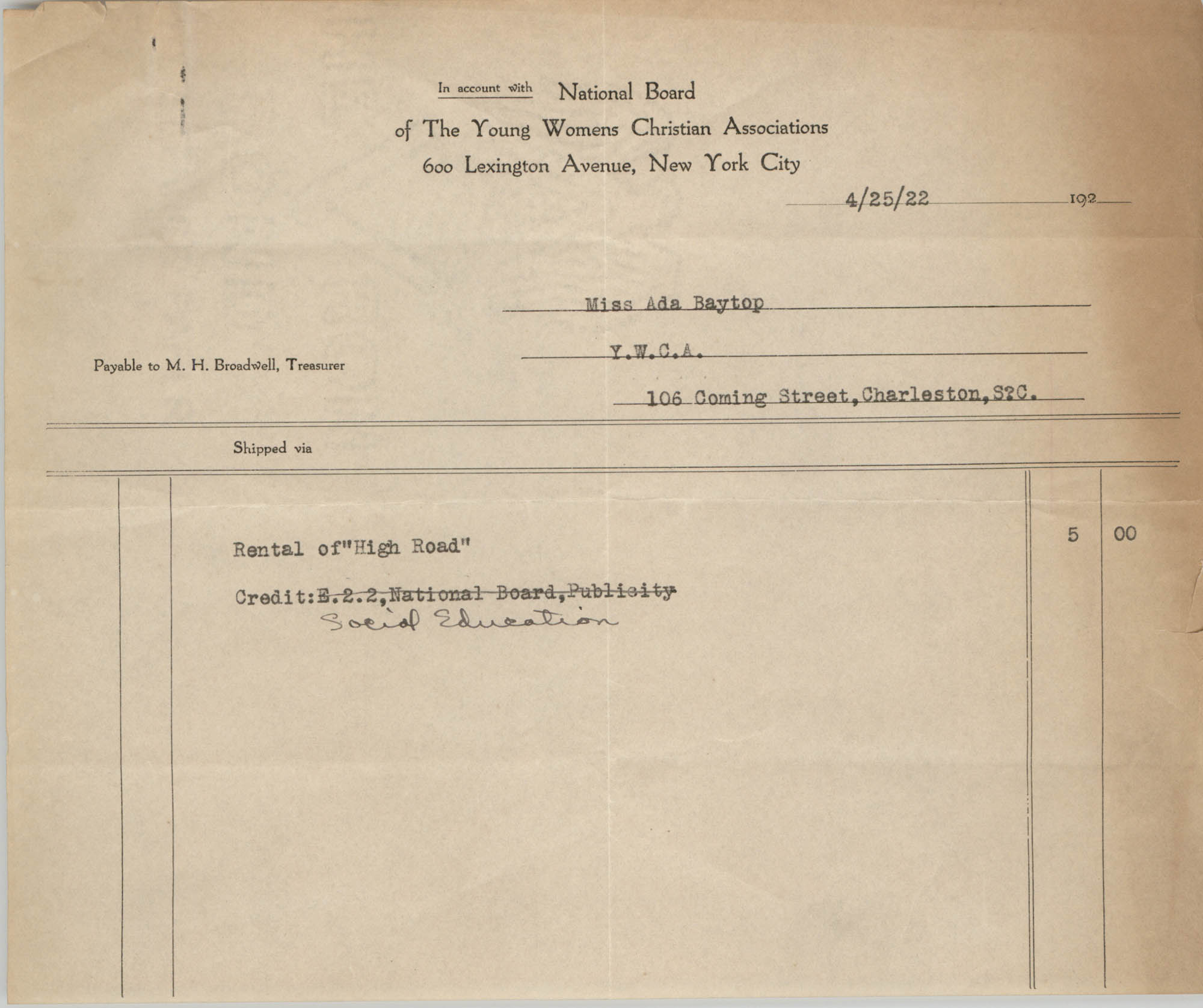 National Board of the Young Womens Christian Associations Invoice to Miss Ada Baytop, April 25, 1922