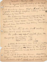 Minutes to the Board of Management, Coming Street Y.W.C.A., March 8, 1922