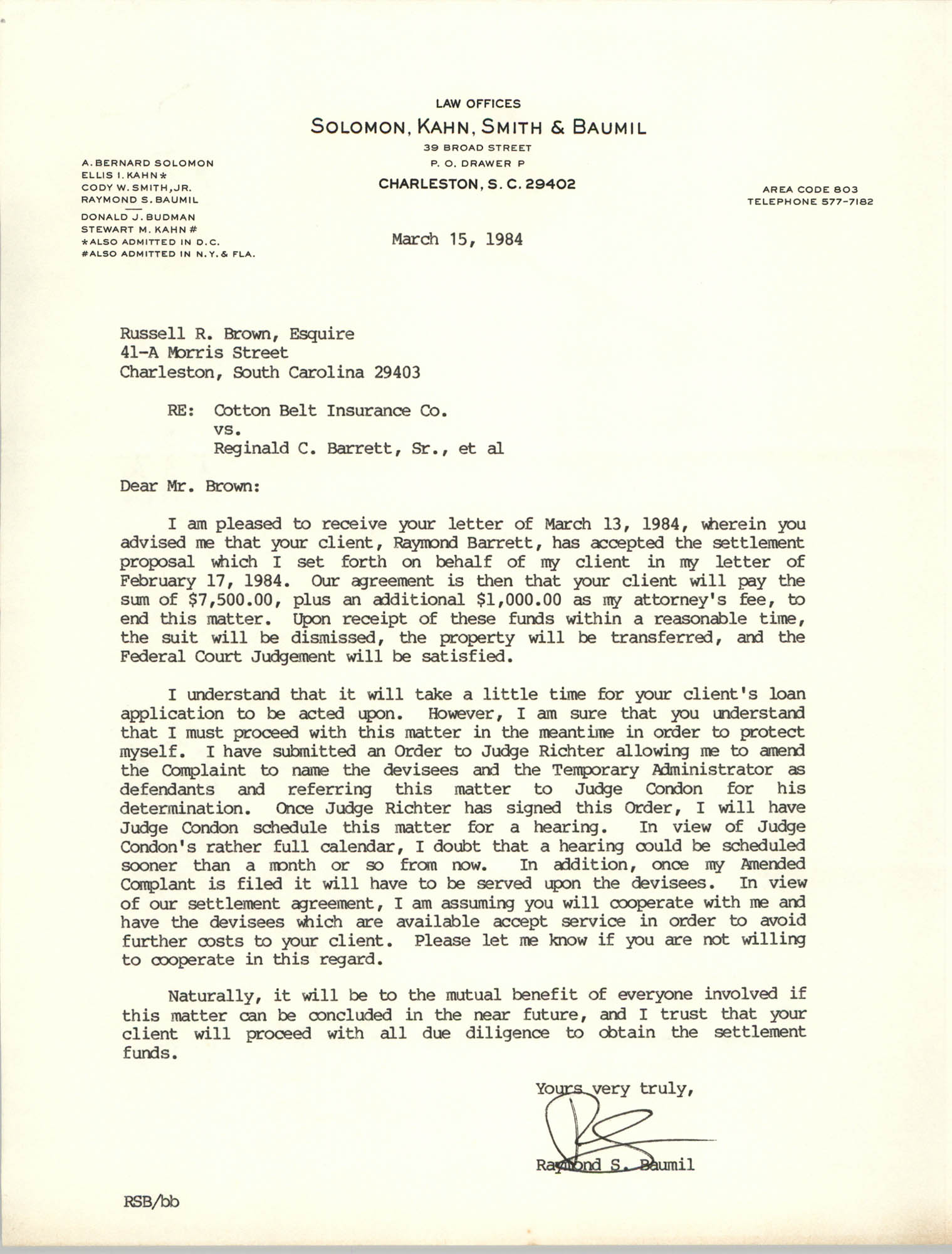 Letter from Raymond S. Baumil to Russell Brown, March 15, 1984