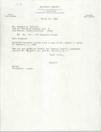 Letter from Russell Brown to Raymond W. Barrett, March 13, 1984