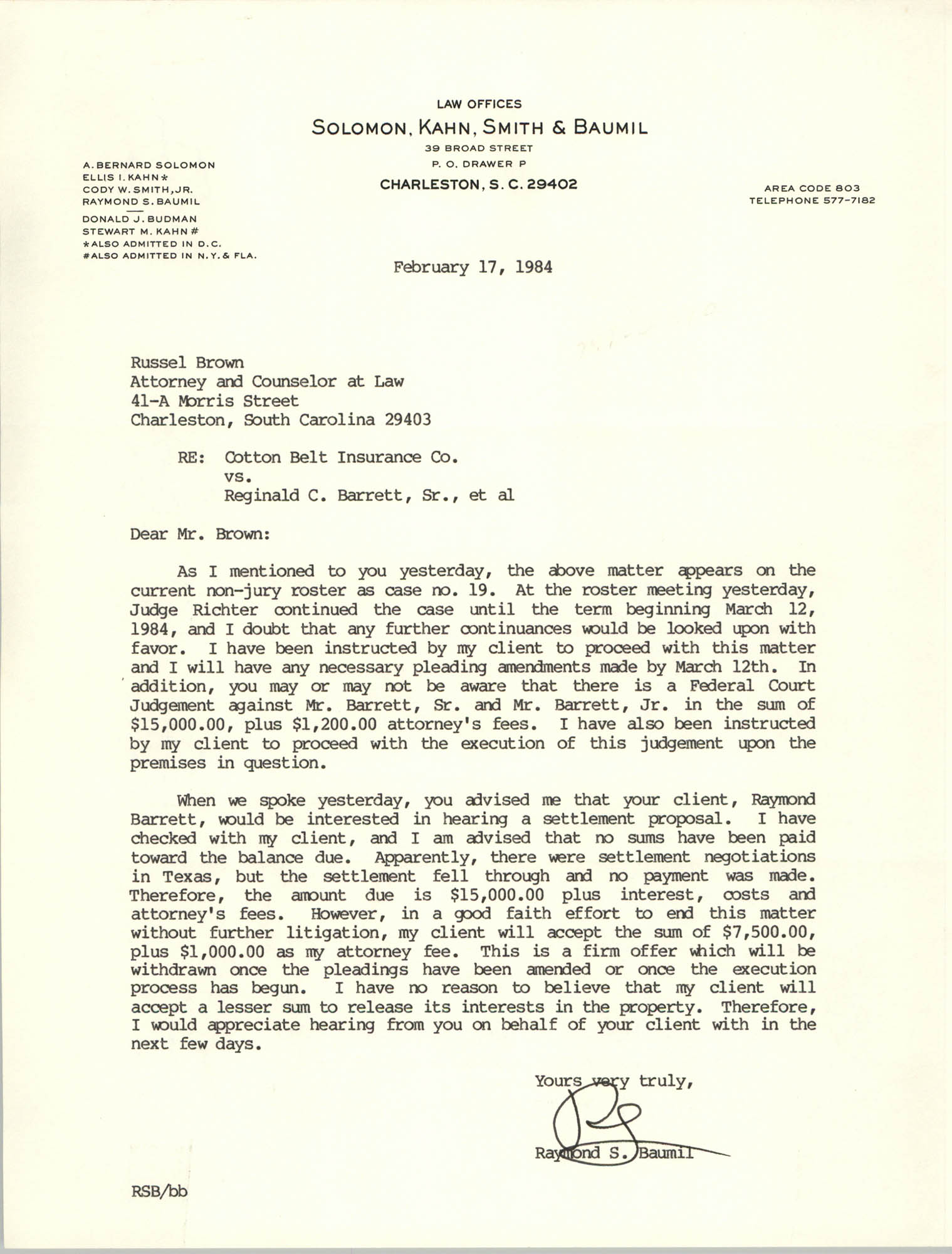 Letter from Raymond S. Baumil to Russell Brown, February 17, 1984