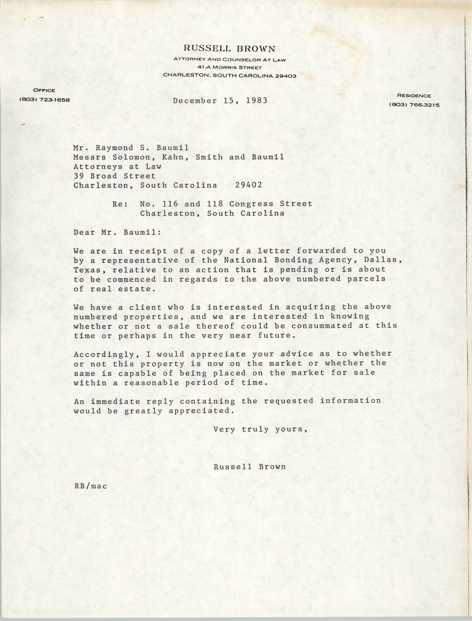 Letter from Russell Brown to Raymond S. Baumil, December 15, 1983