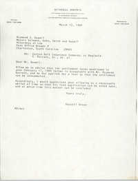 Letter from Russell Brown to Raymond S. Baumil, March 13, 1984