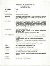 Biographical information, Ernest L. Passailaigue, Jr.