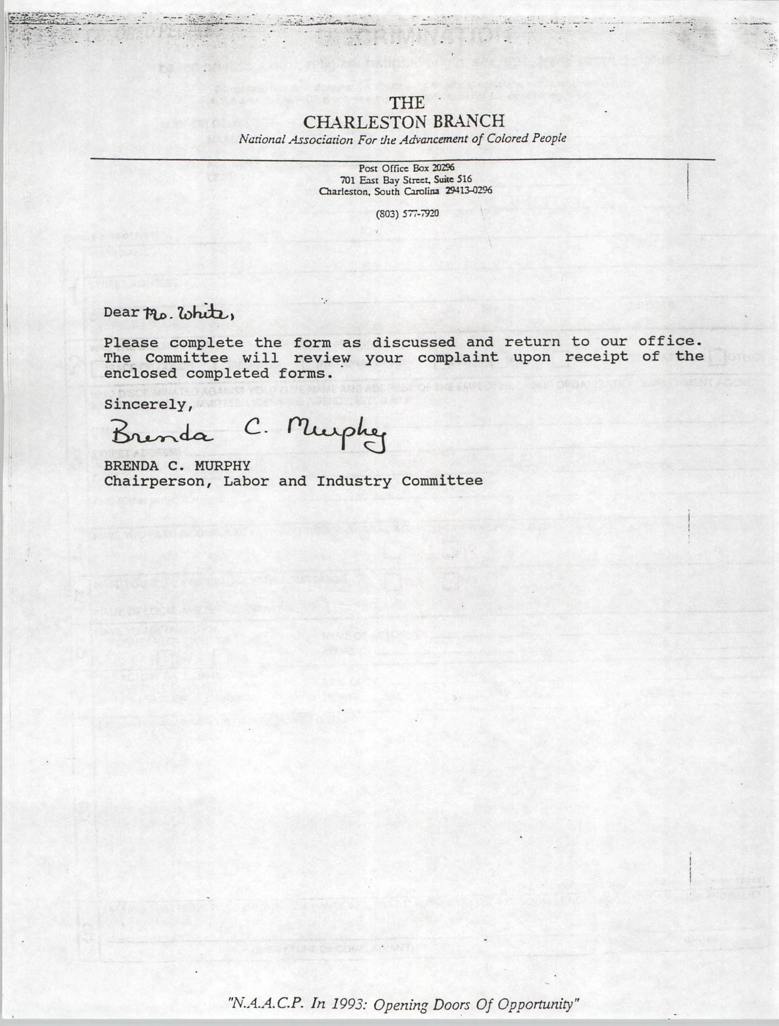 Letter from Brenda C. Murphy to Ms. White