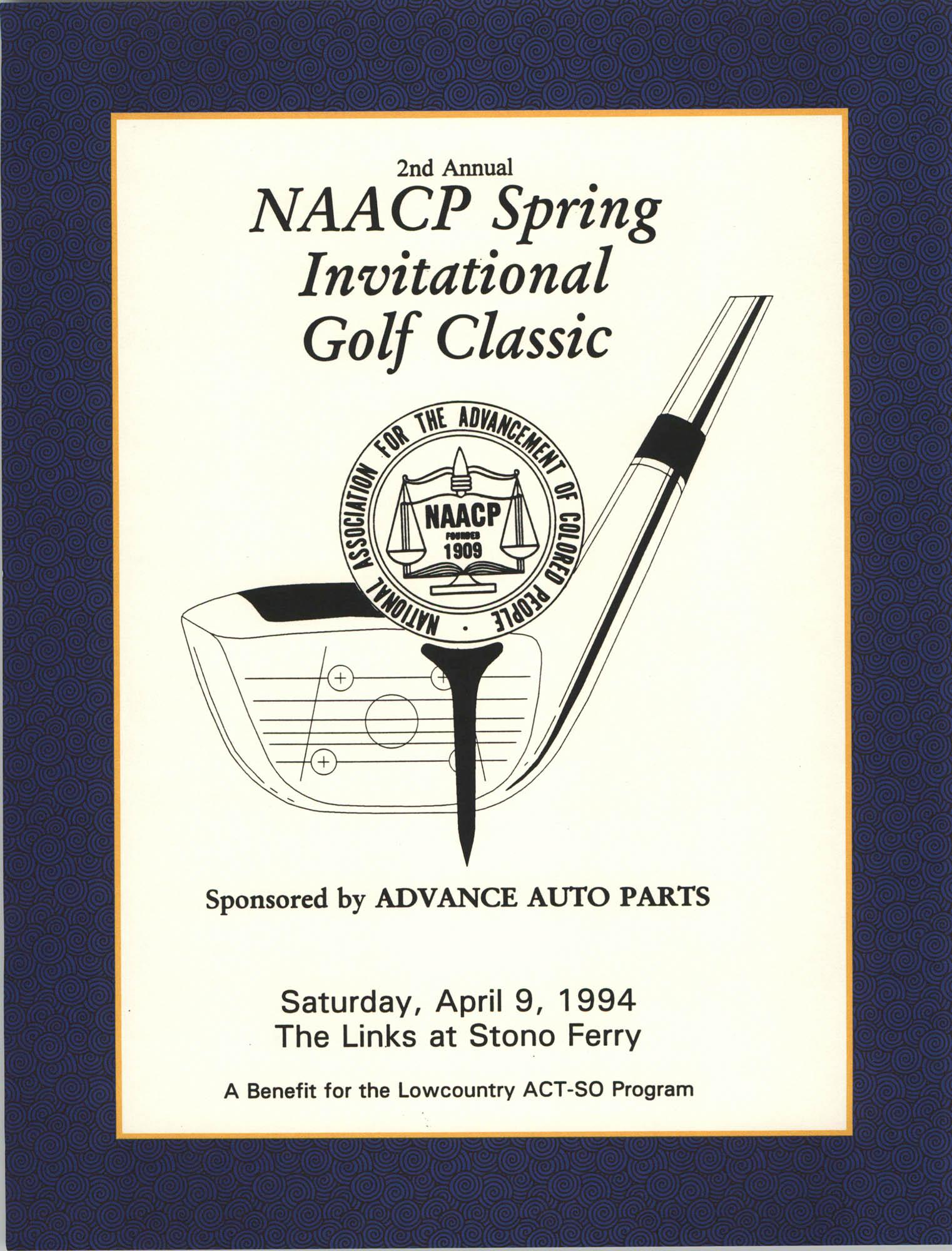 Program, 2nd Annual NAACP Spring Invitational Golf Classic, ACT-SO Program,  Stono Ferry, April 9, 1994
