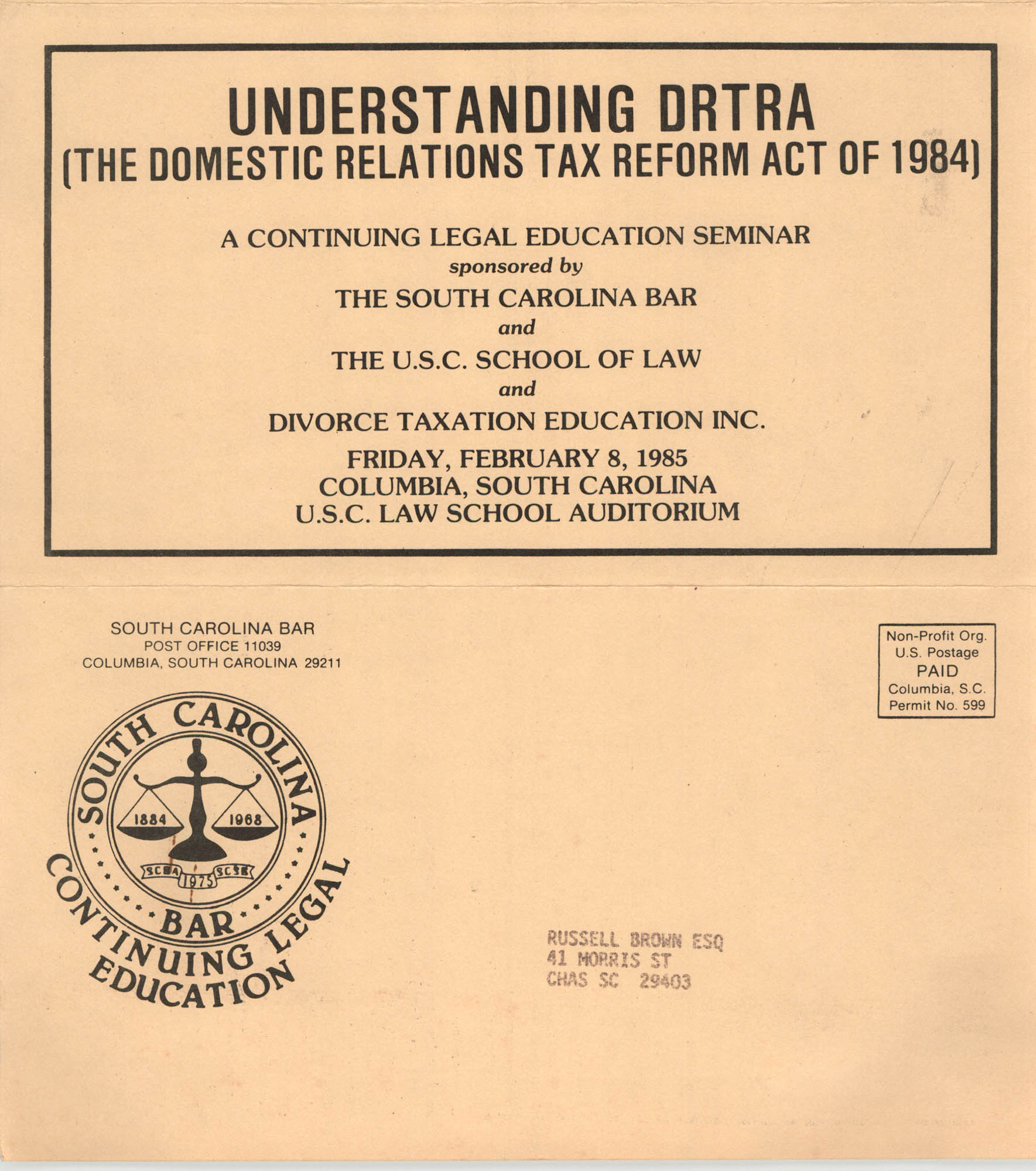 Understanding DRTRA, Continuing Legal Education Seminar, February 8, 1985, Russell Brown