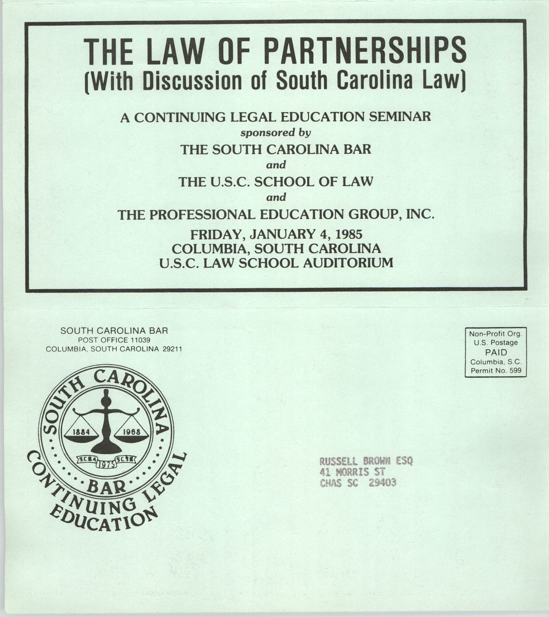 The Law of Partnerships, Continuing Education Seminar Pamphlet, January 5, 1985, Russell Brown