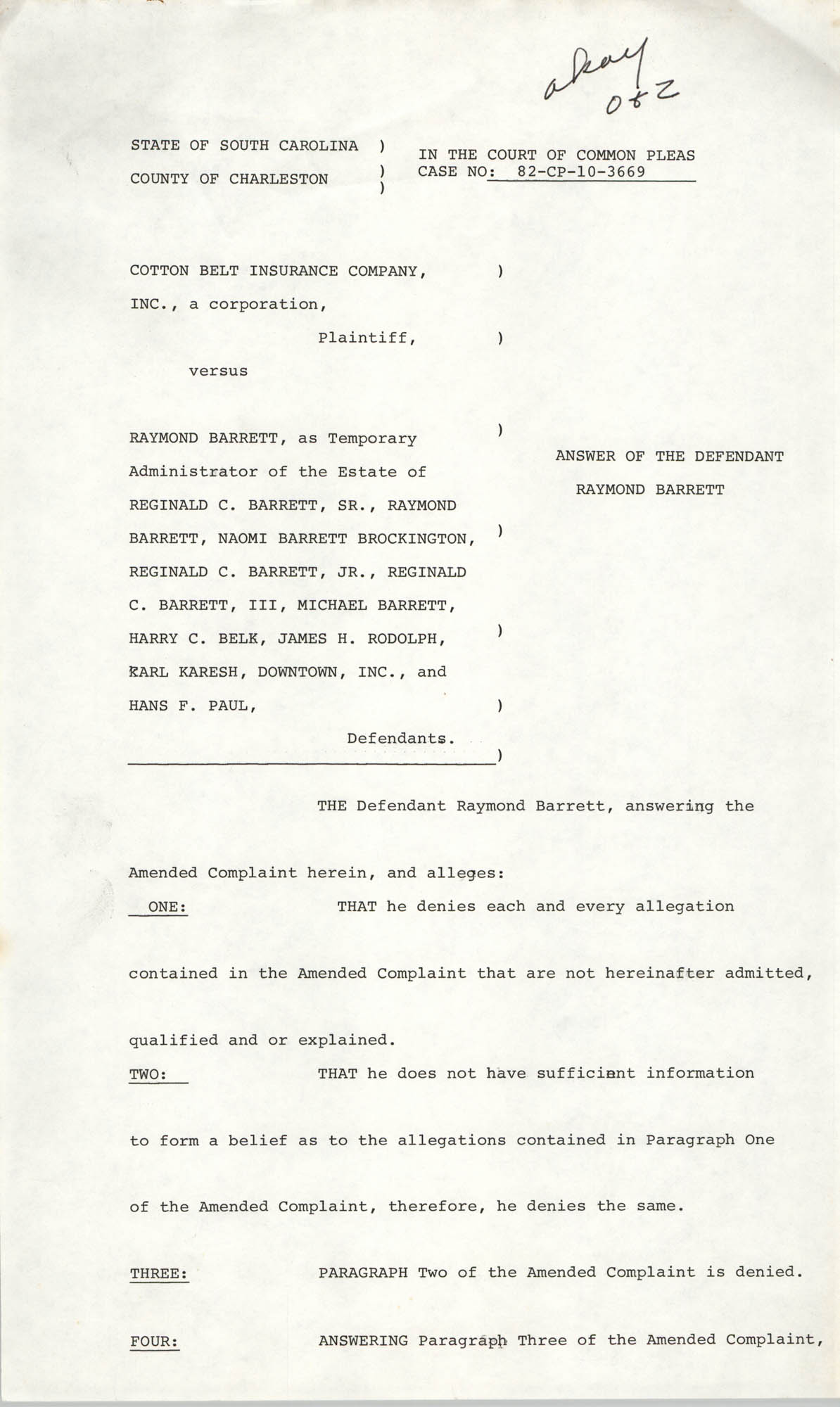 Answer of the Defendant Raymond Barrett, draft, 1985