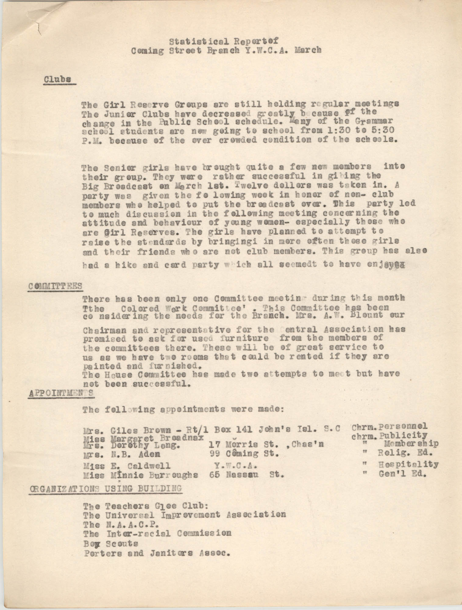 Statistical Report of the Coming Street Y.W.C.A., March 1937