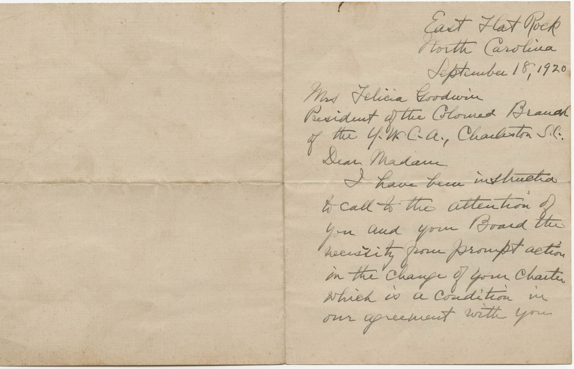 Letter from Louisa C. Stoney to Felicia Goodwin, September 18, 1920